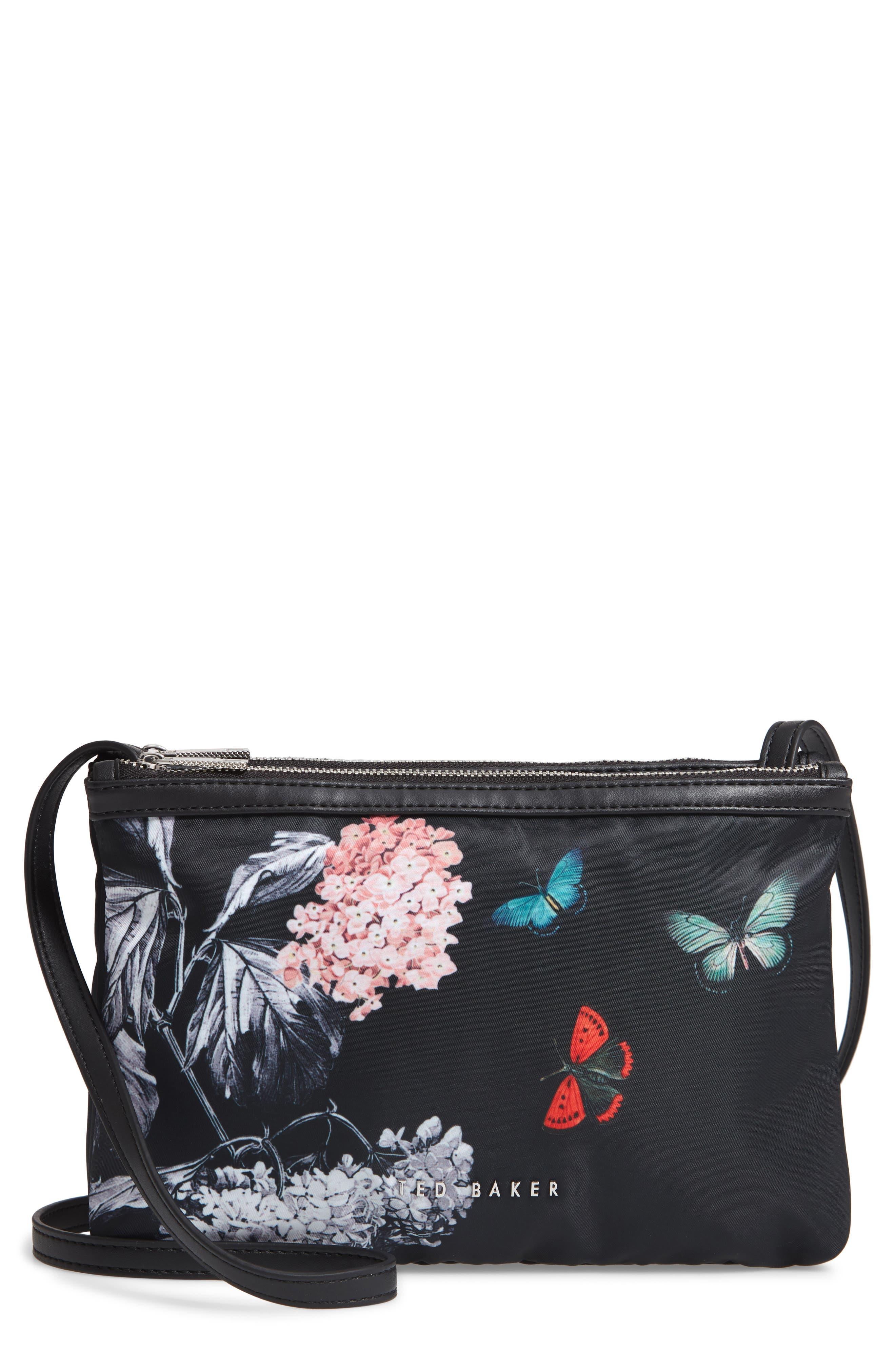 Myyaa Narrnia Nylon Crossbody Bag,                             Main thumbnail 1, color,                             BLACK