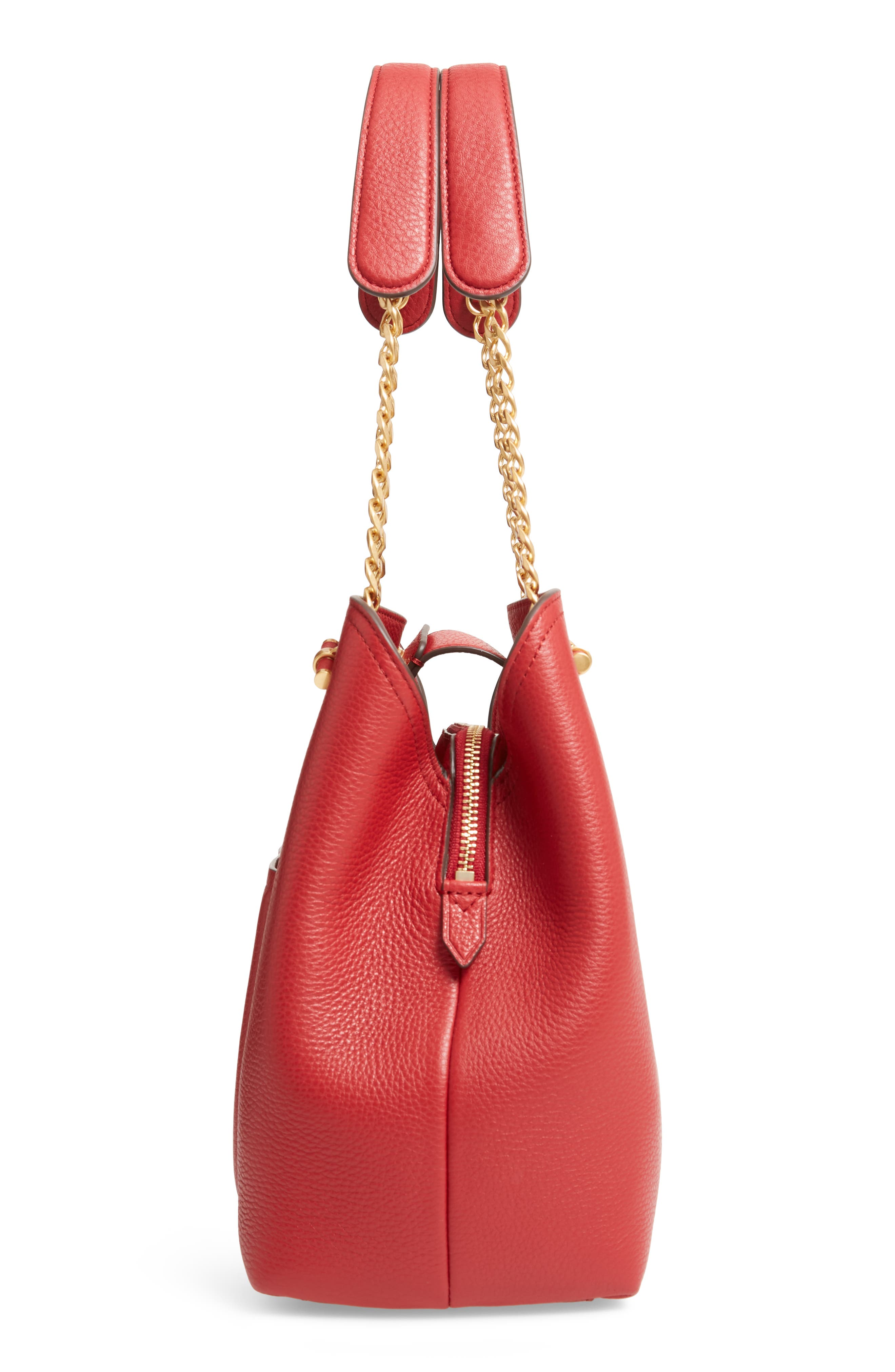Small Chelsea Leather Tote,                             Alternate thumbnail 5, color,                             REDSTONE