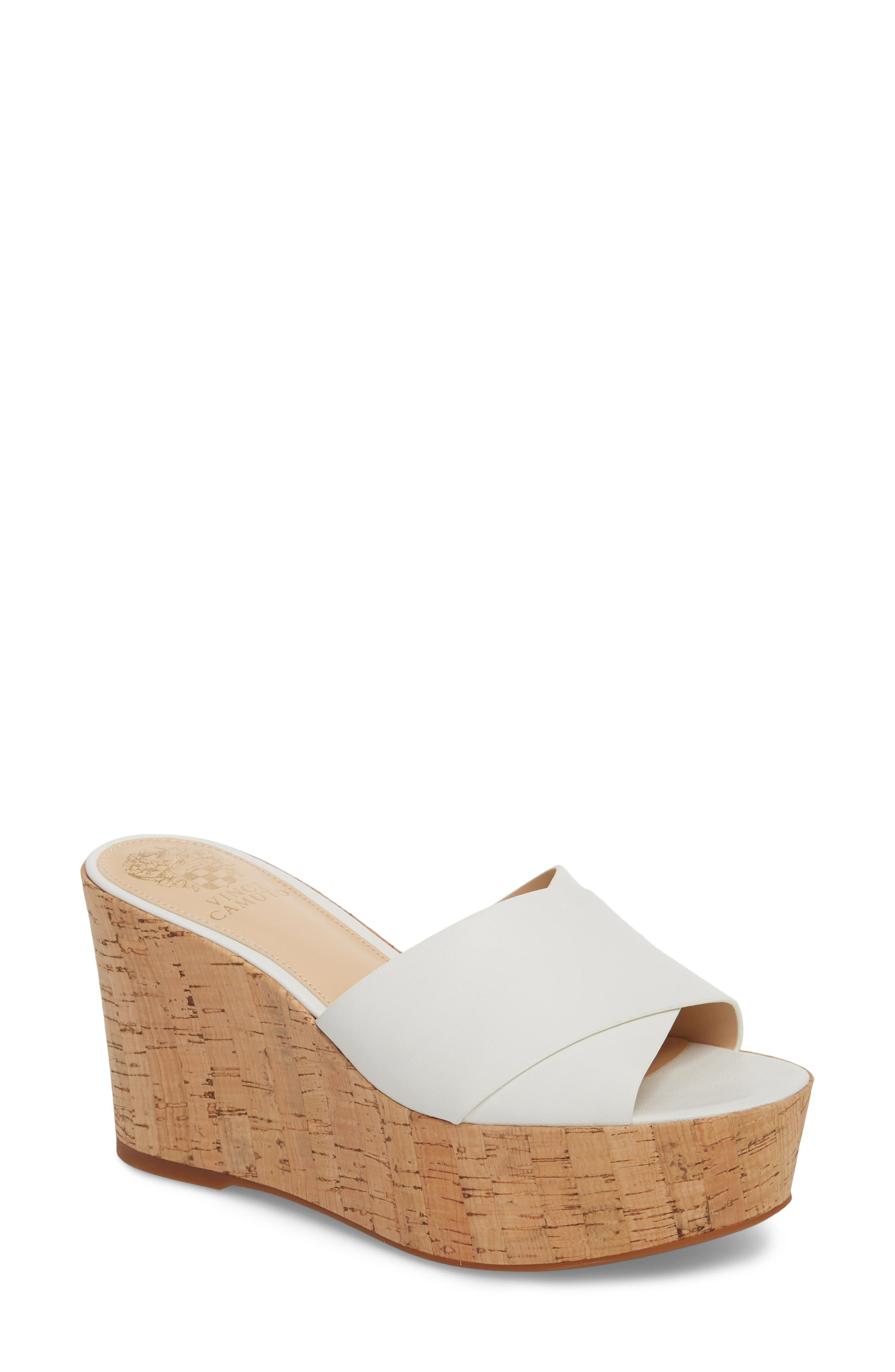 Kessina Platform Wedge Mule,                             Main thumbnail 1, color,                             PURE LEATHER