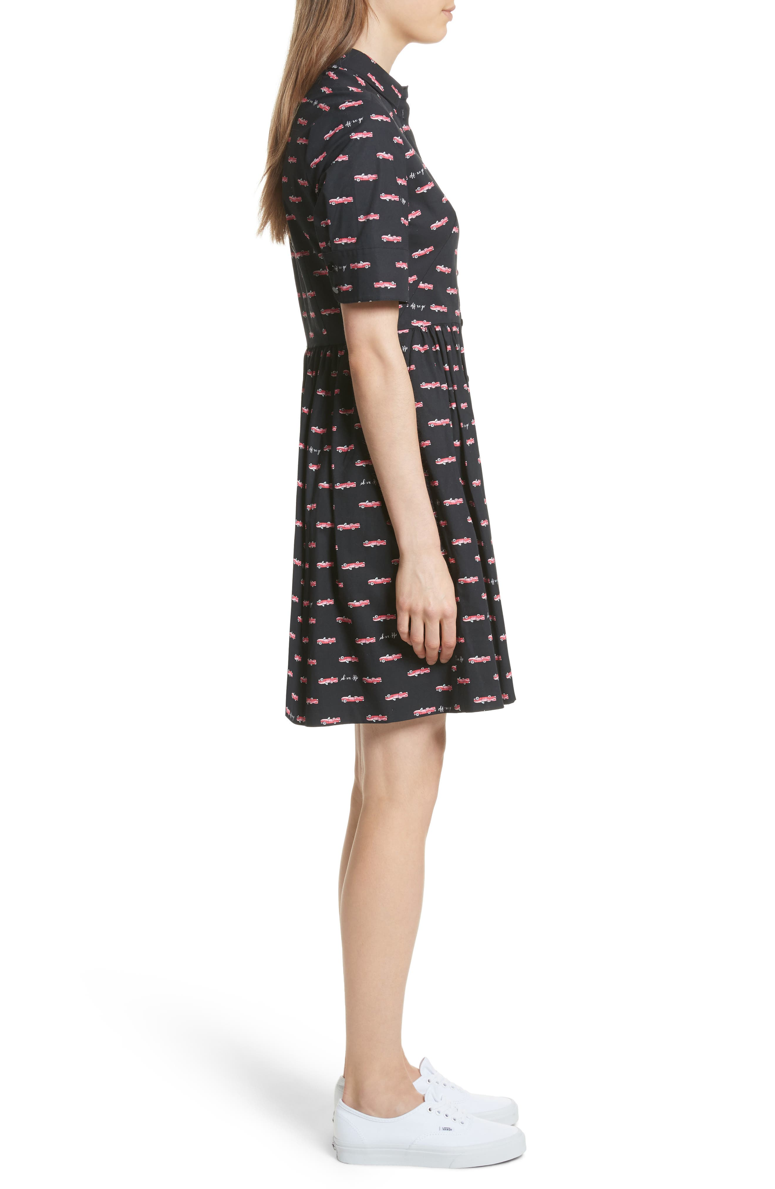 kate spade hot rod poplin fit & flare dress,                             Alternate thumbnail 3, color,