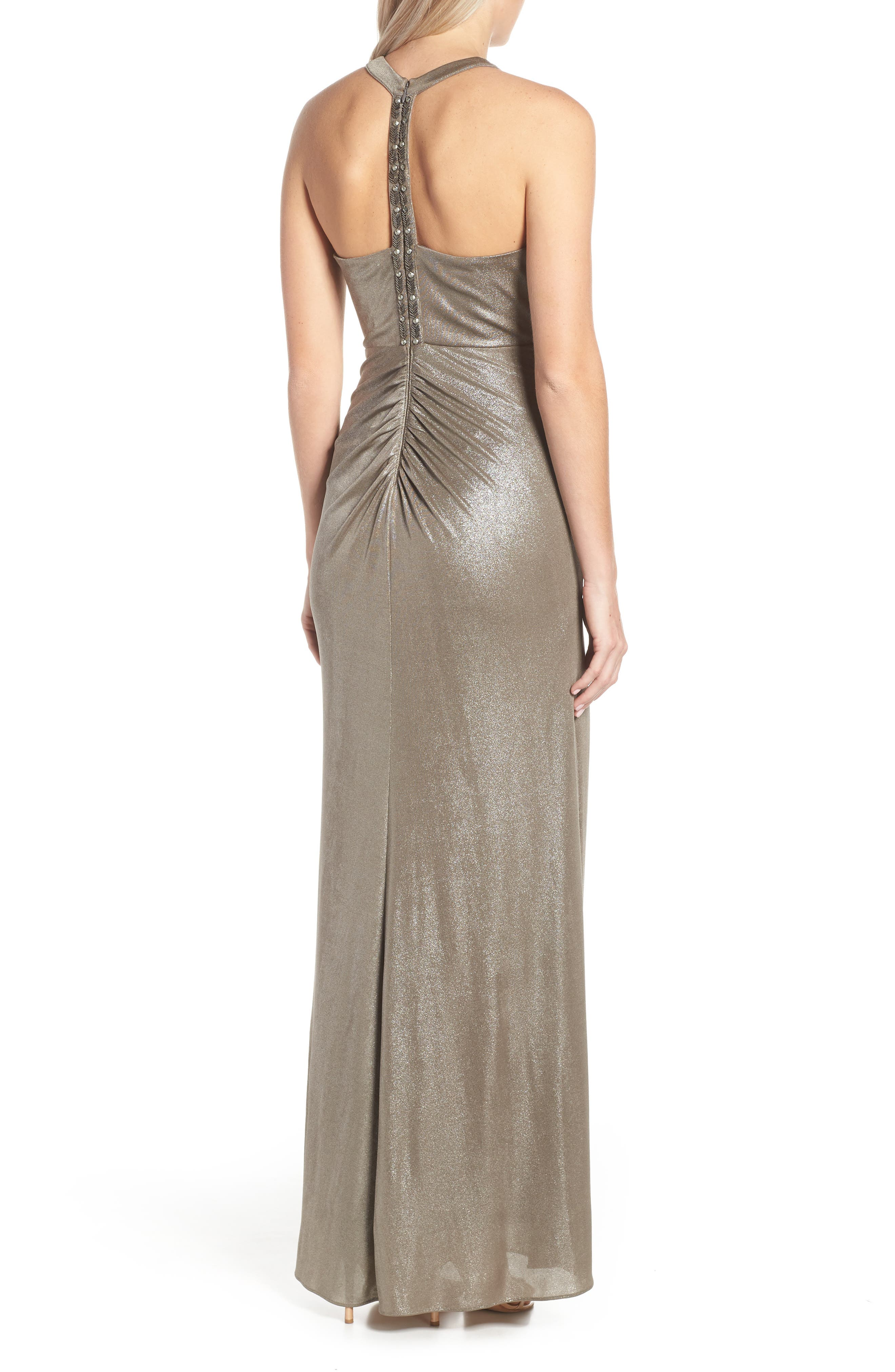 Ruched Metallic Jersey Gown,                             Alternate thumbnail 2, color,                             MINK