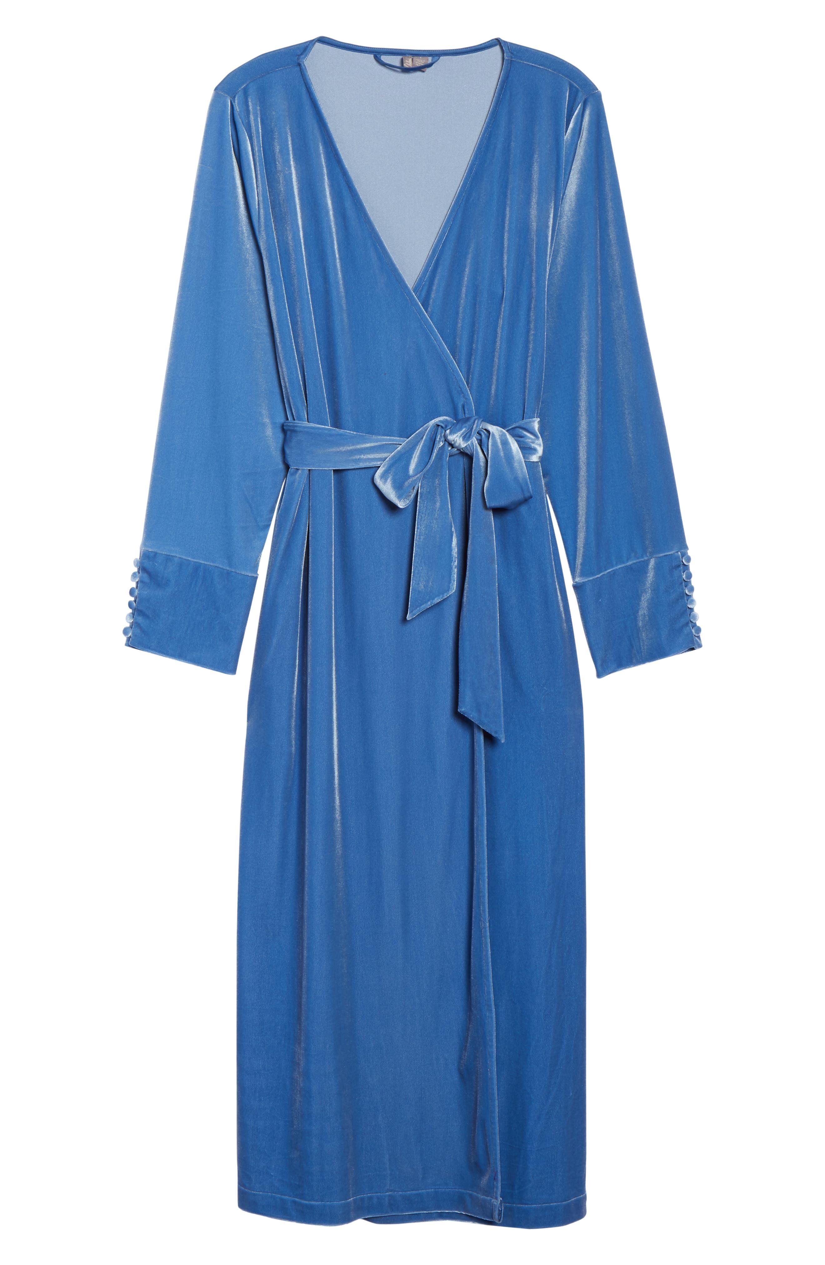 Dream Away Velour Robe,                             Alternate thumbnail 6, color,                             BLUE DELFT