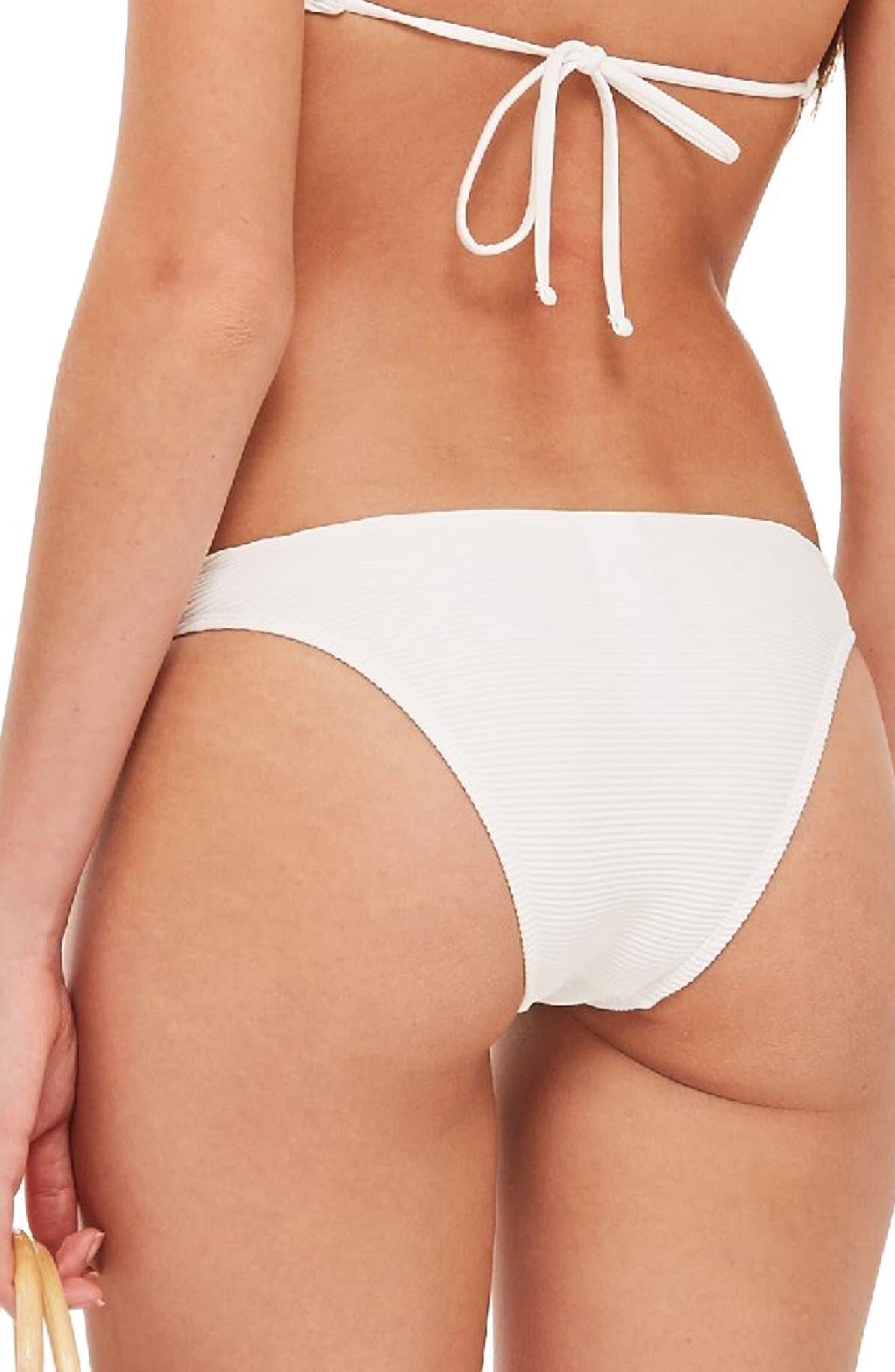 Ribbed Ring Bikini Bottoms,                             Alternate thumbnail 2, color,                             WHITE