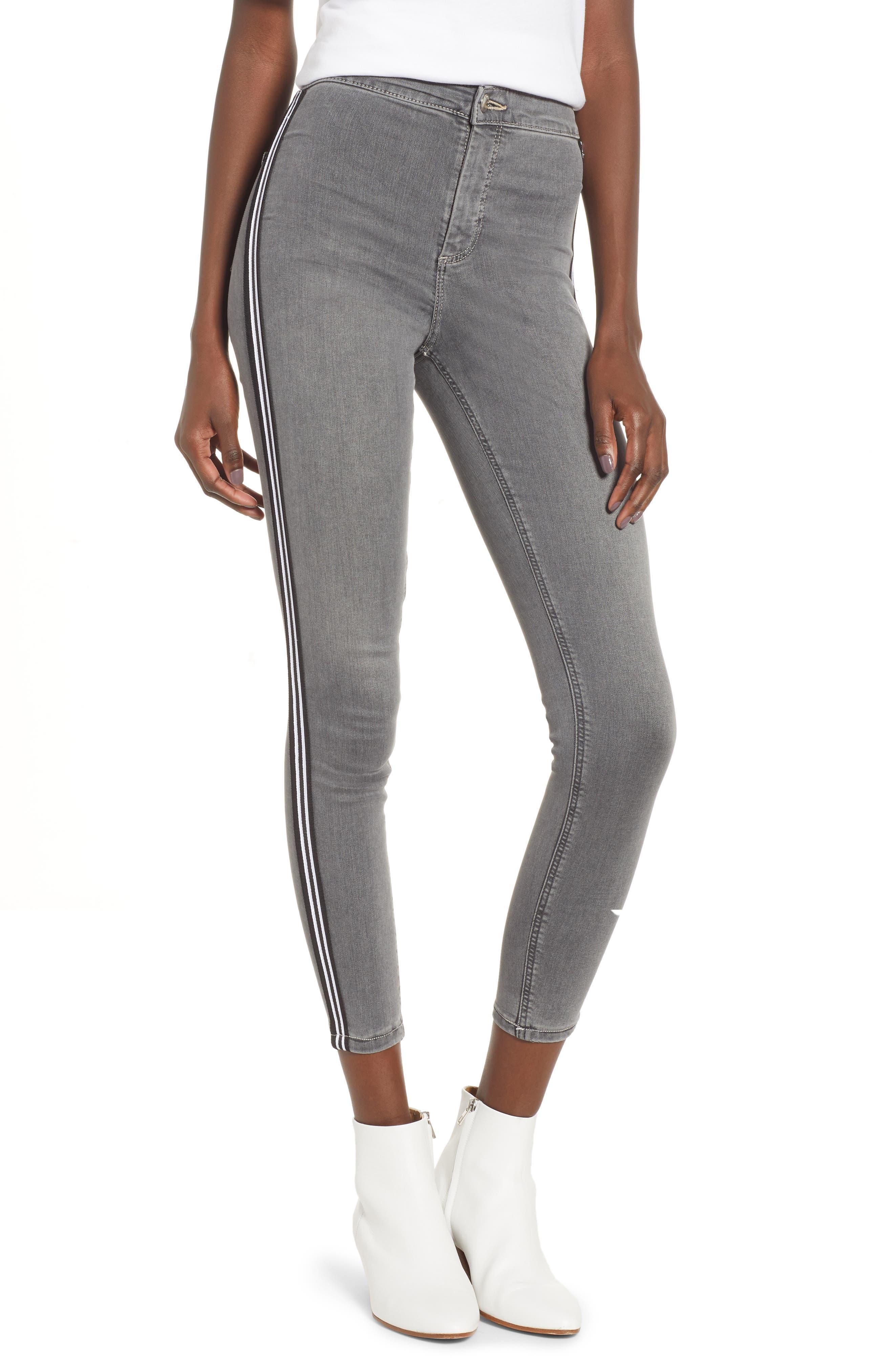 Joni Side Stripe Crop Skinny Jeans,                         Main,                         color, GREY