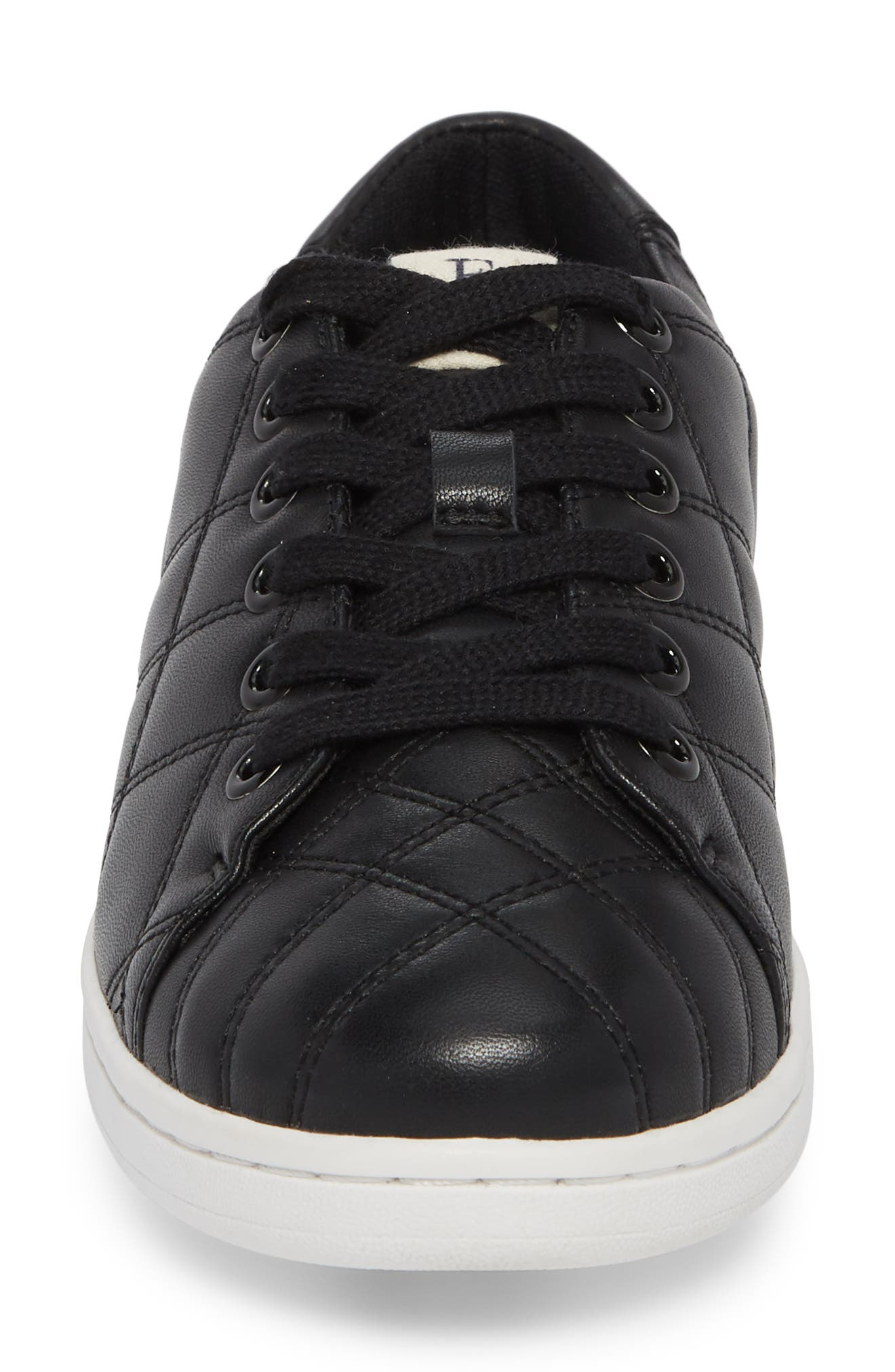 Crowley Quilted Sneaker,                             Alternate thumbnail 4, color,                             BLACK LEATHER