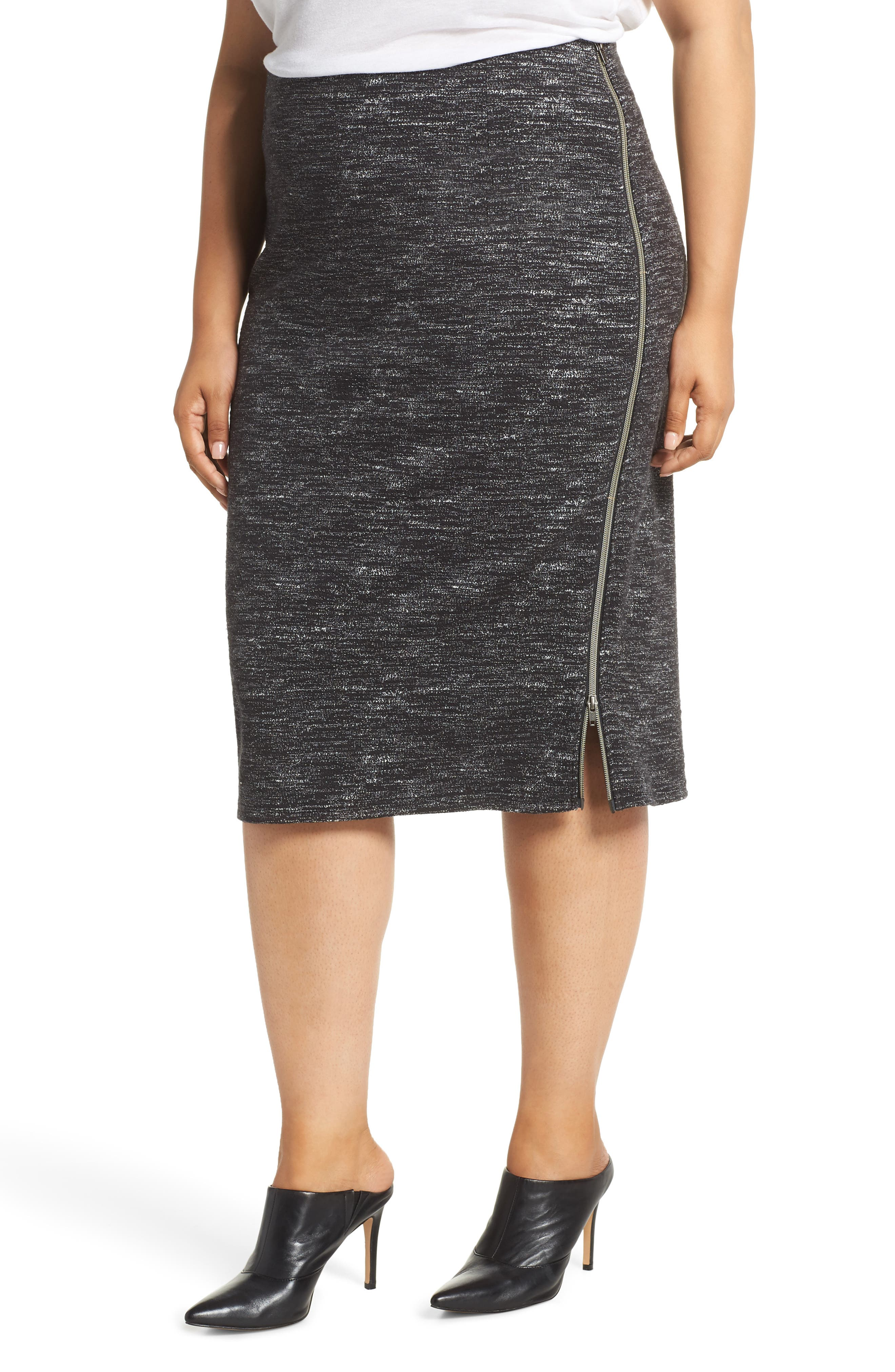 Side Zip Ponte Pencil Skirt,                         Main,                         color, BLACK- WHITE PATTERN