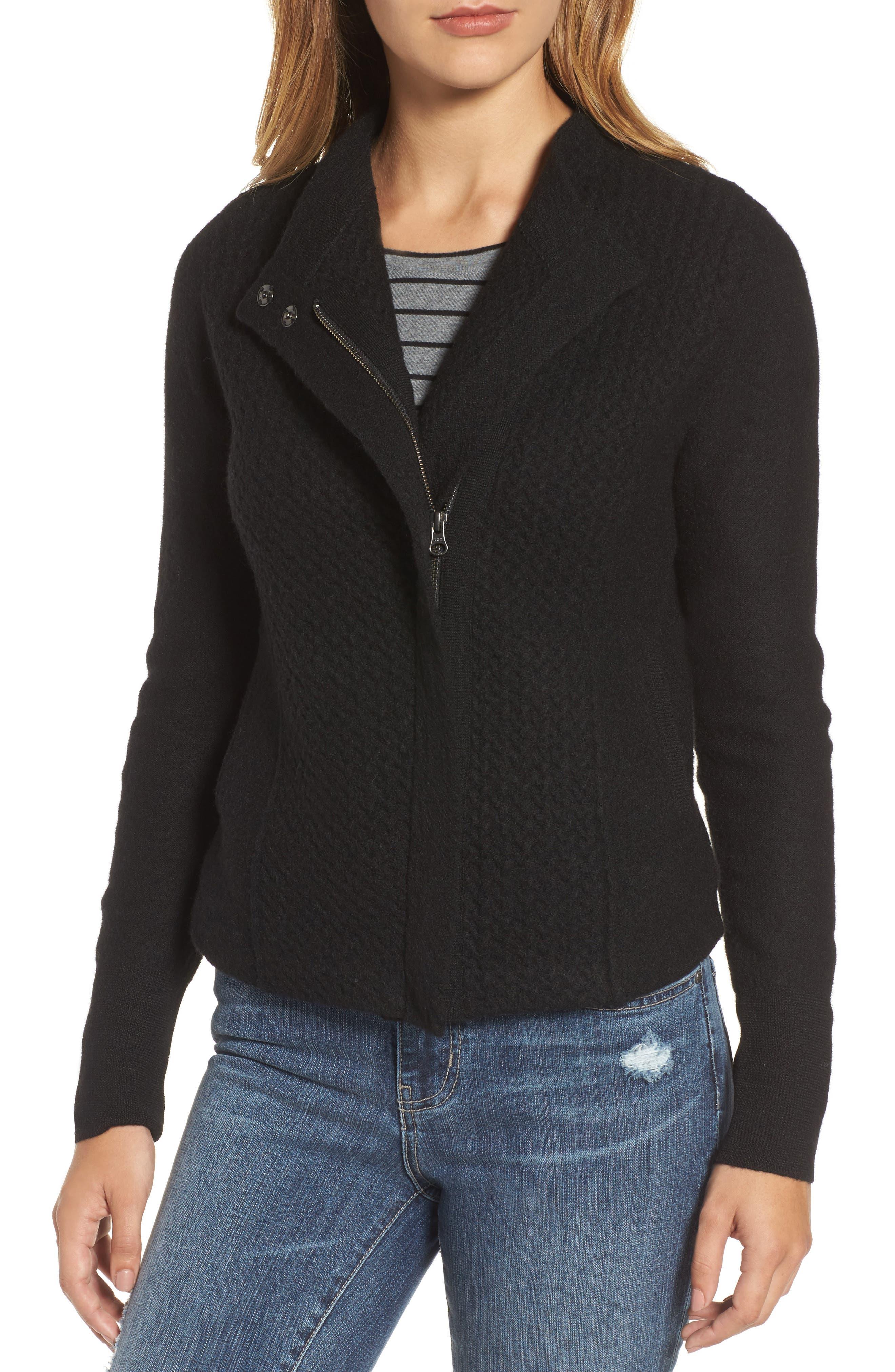Knit Sweater Coat,                             Alternate thumbnail 4, color,                             001