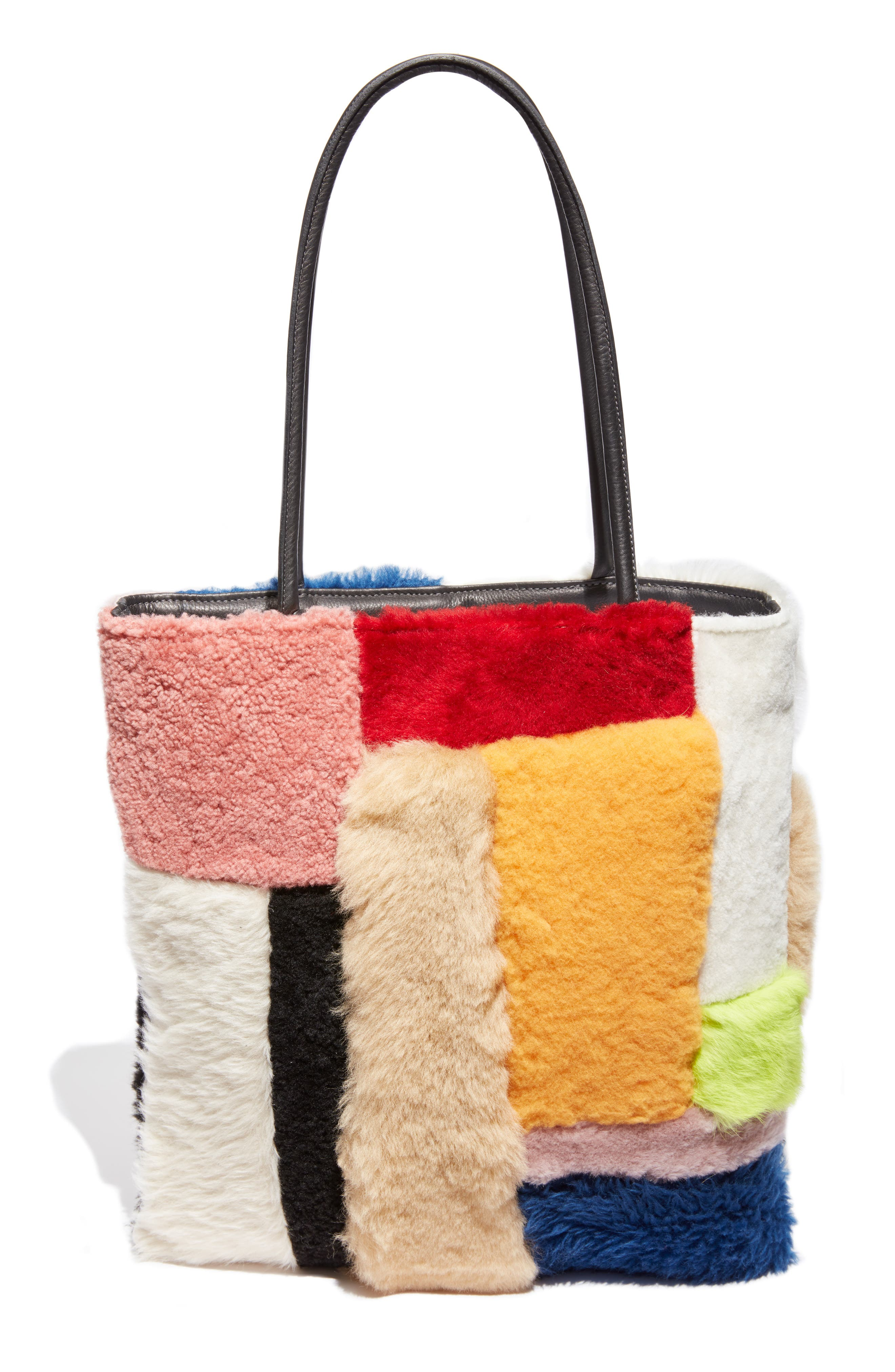 Patchwork Genuine Shearling Tote,                             Main thumbnail 1, color,                             MULTI COLOR