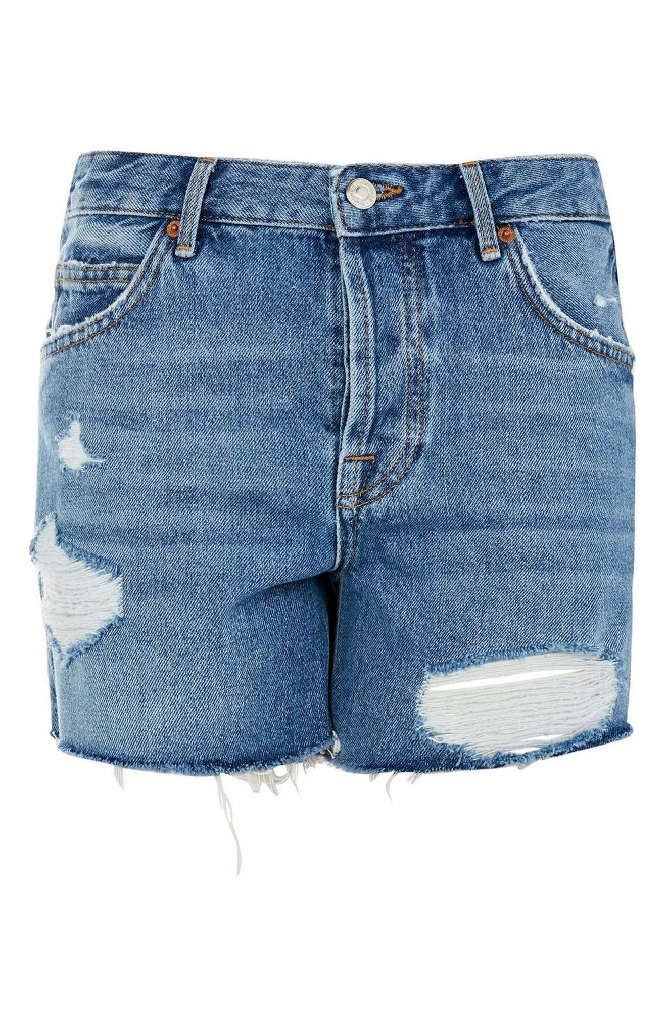 Ashley Ripped Boyfriend Shorts,                             Alternate thumbnail 4, color,                             MID DENIM
