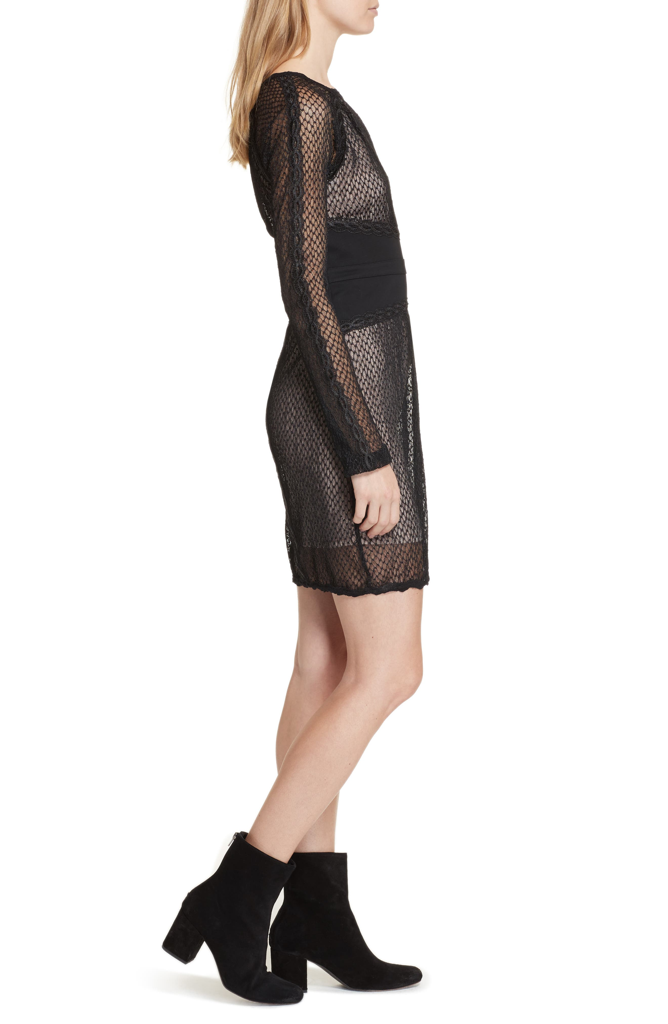 Lace & Mesh Body-Con Dress,                             Alternate thumbnail 3, color,                             001