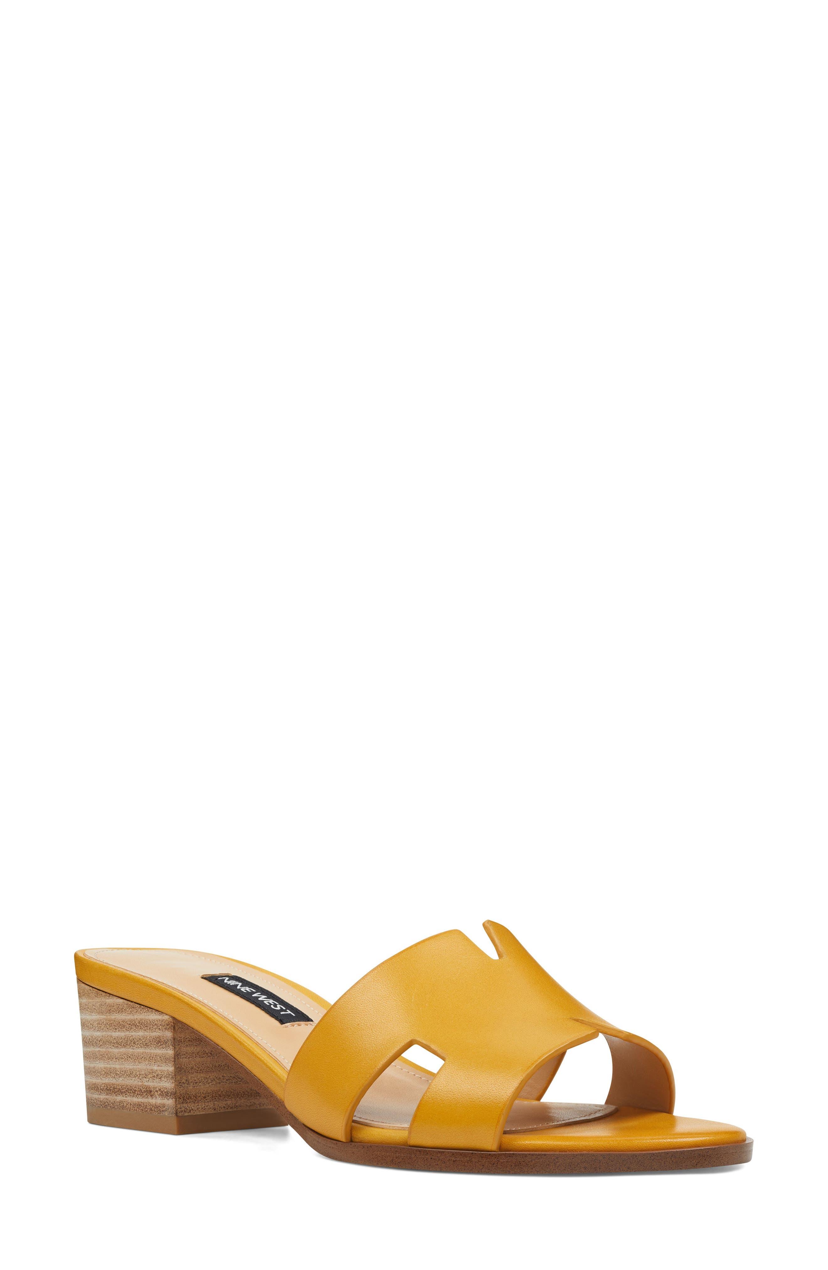 e2f324fa90ff Nine West Aubrey Cutout Slide Sandal- Yellow