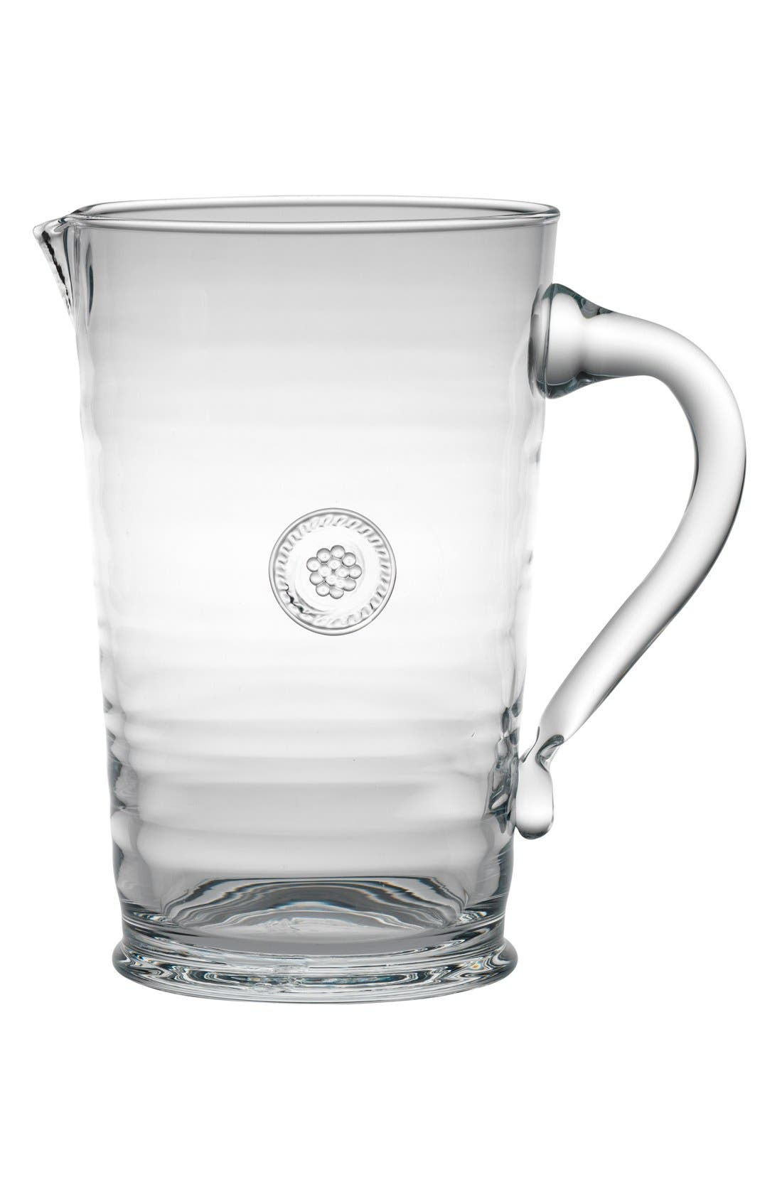 Berry & Thread Glass Pitcher,                             Main thumbnail 1, color,                             CLEAR