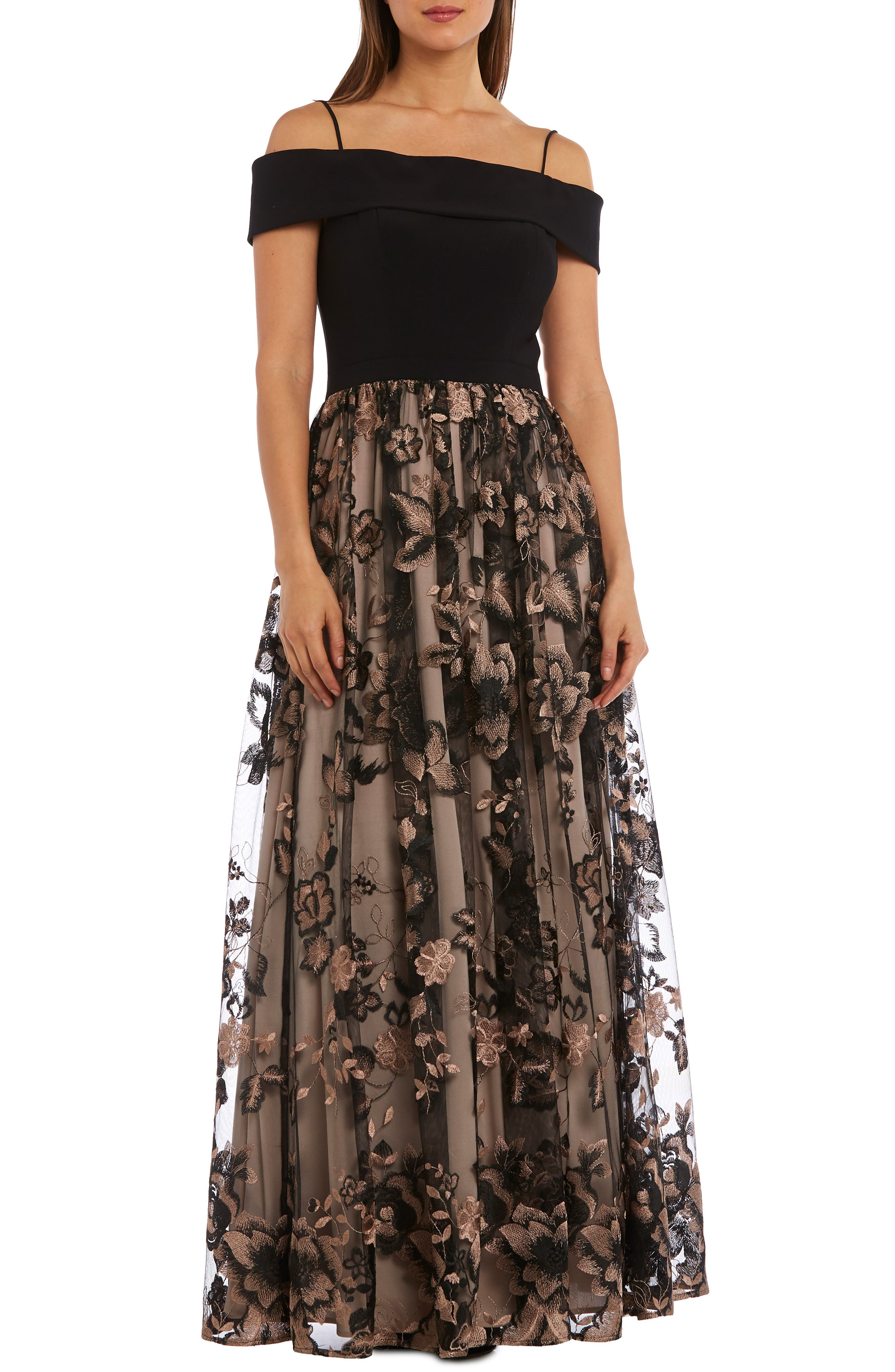 Morgan & Co. Off The Shoulder Bodice Embroidered Chiffon Gown, /10 - Black