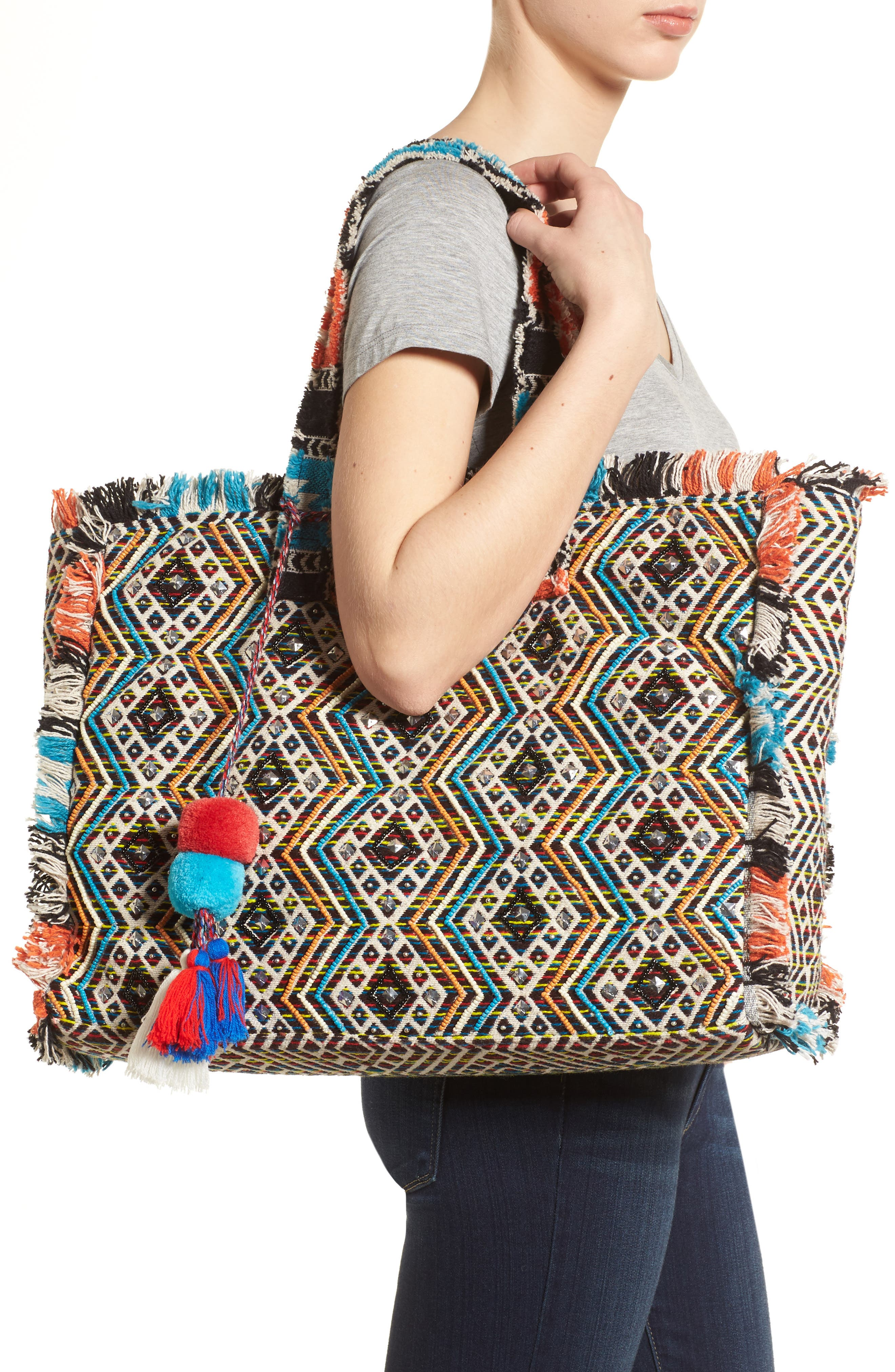 Resort Embroidered Tote,                             Alternate thumbnail 2, color,                             403