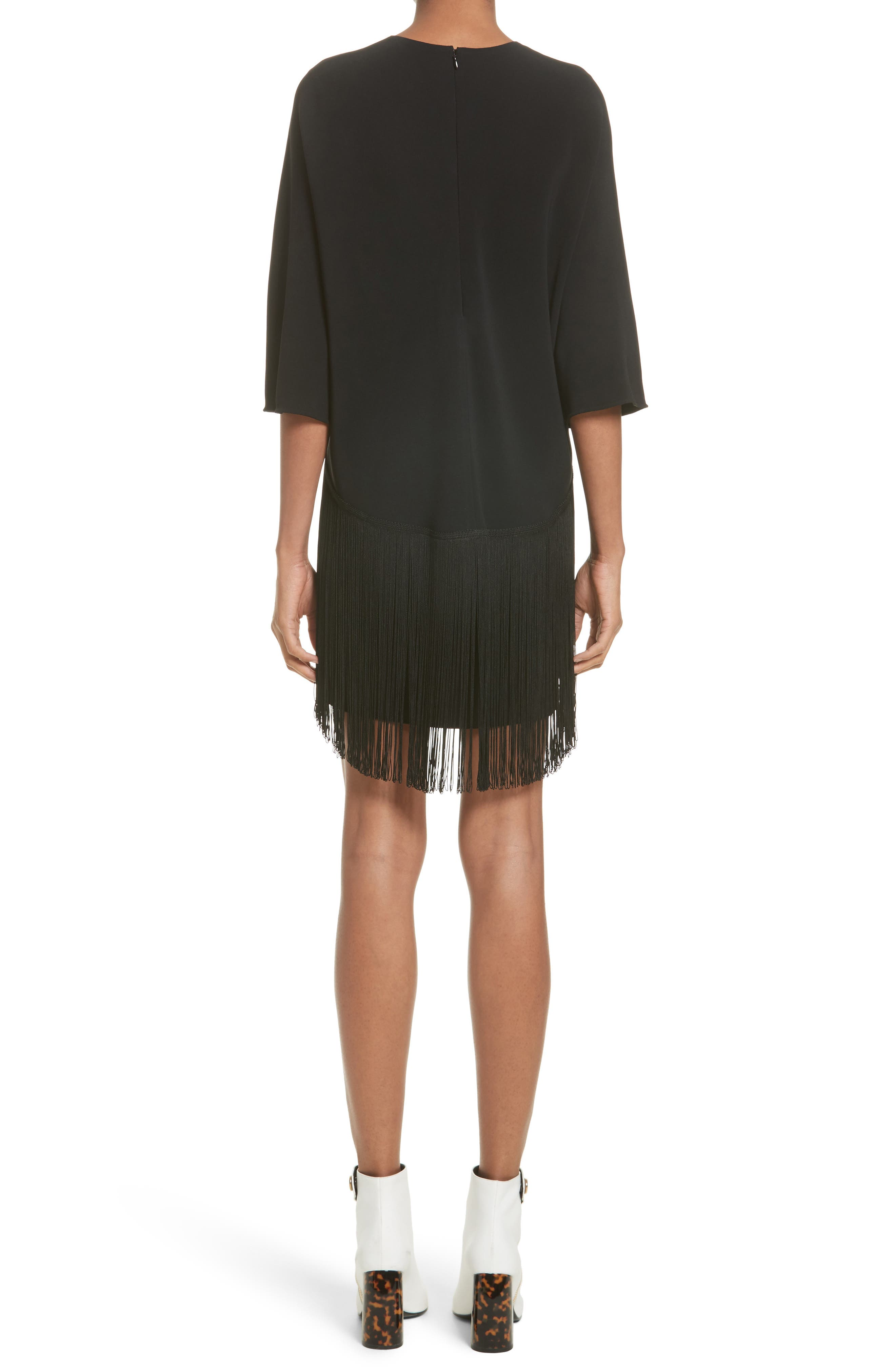 Fringe Overlay Stretch Cady Dress,                             Alternate thumbnail 2, color,