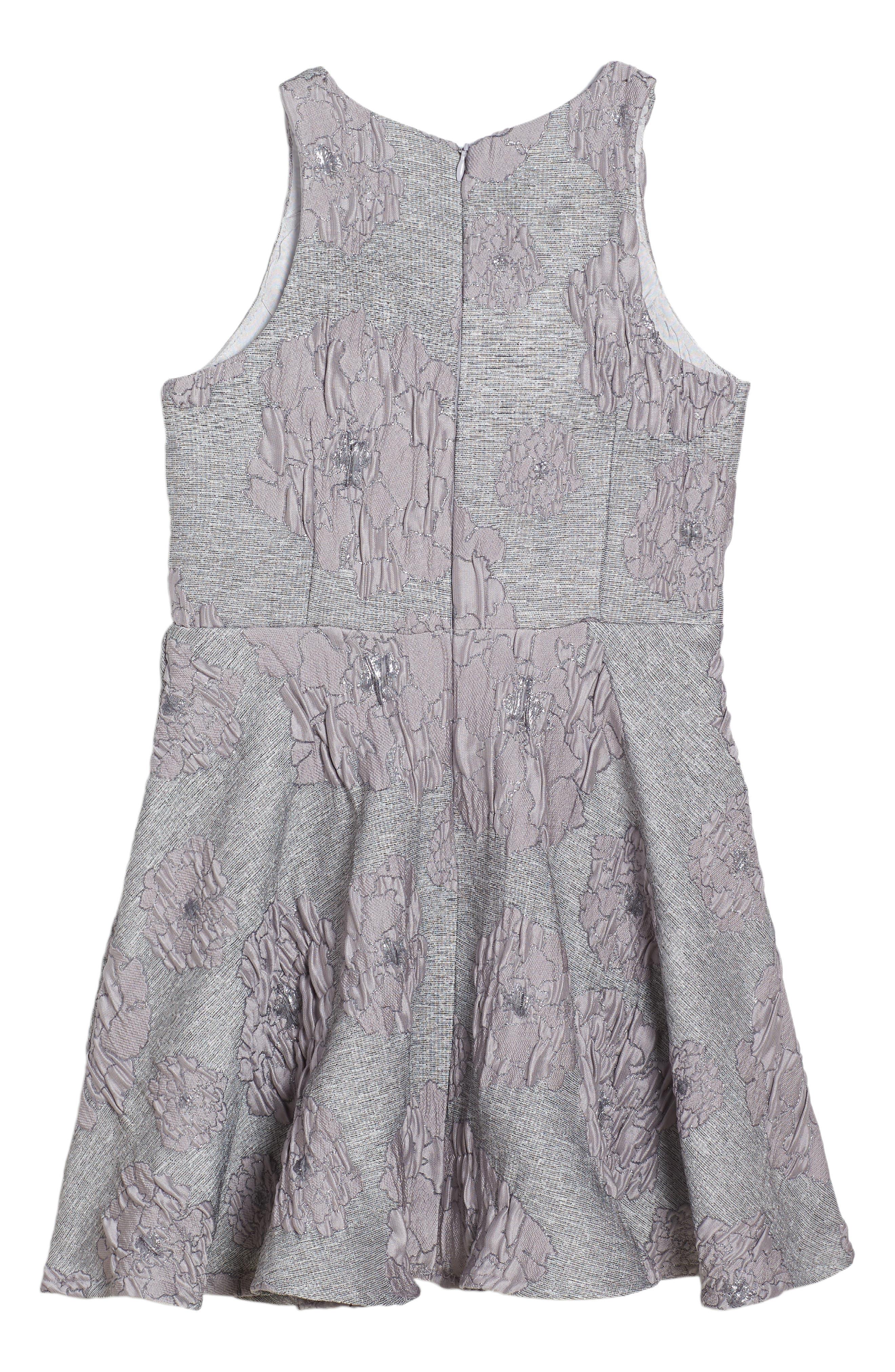 Flocked Jacquard Skater Dress,                             Alternate thumbnail 2, color,                             020