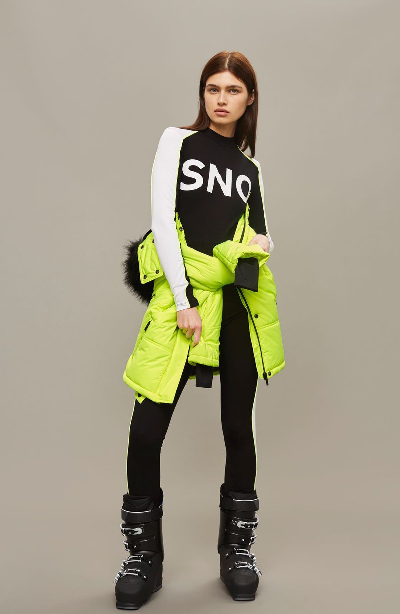 SNO Rio Faux Fur Hood Neon Puffer Jacket,                             Alternate thumbnail 18, color,