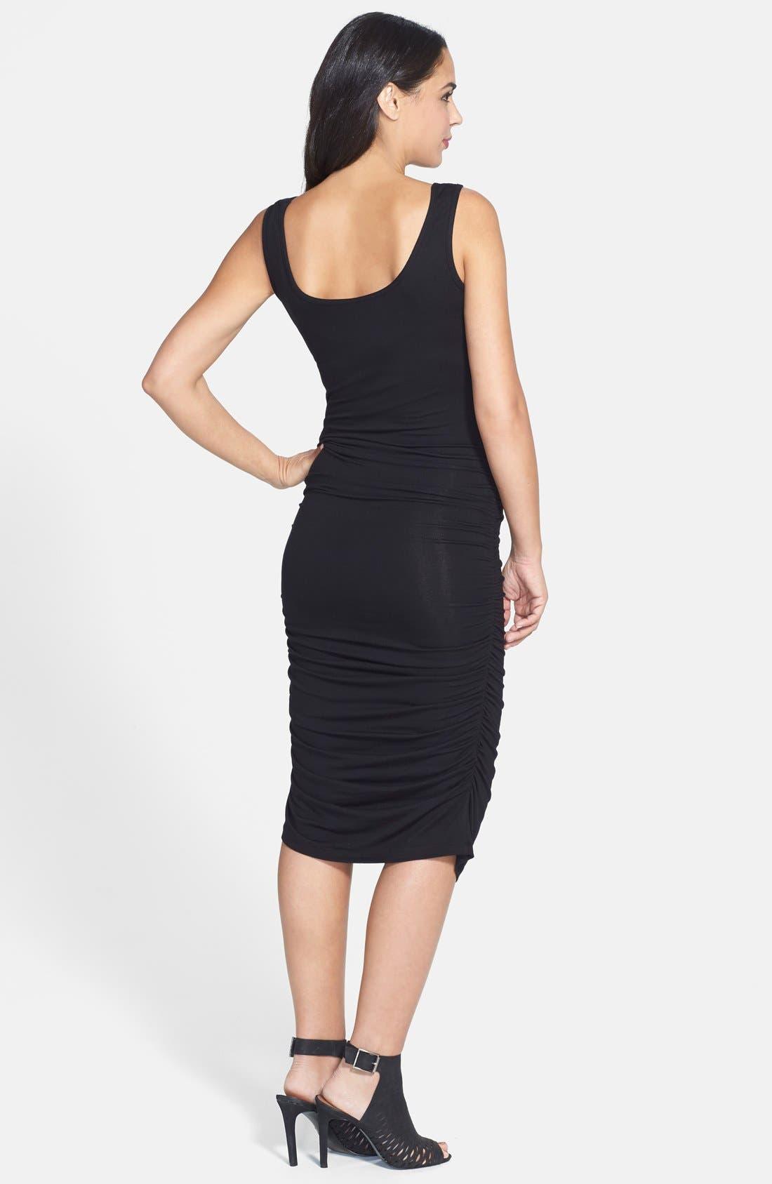 'Stella' Striped Jersey Maternity Dress,                             Alternate thumbnail 5, color,                             BLACK