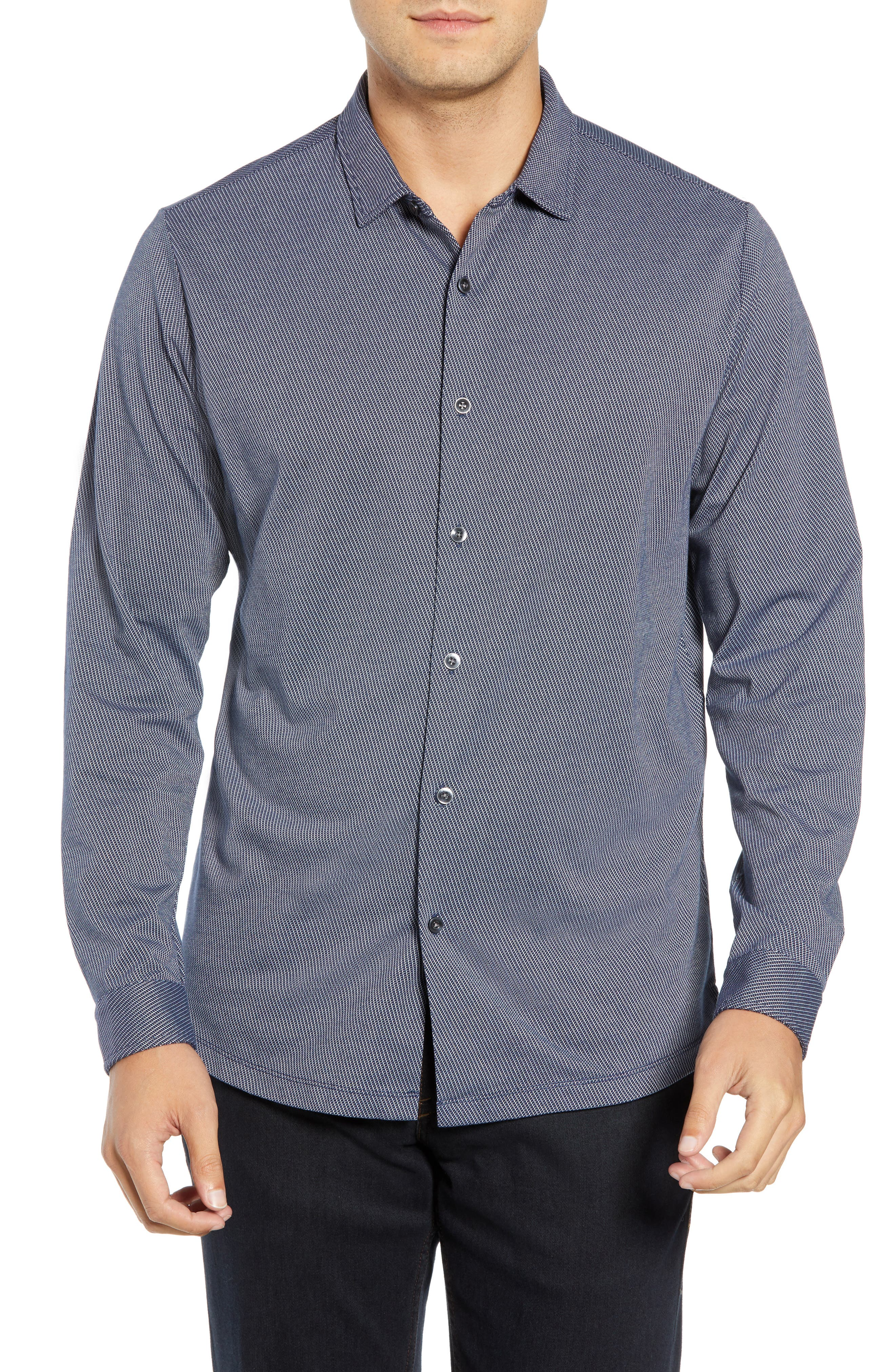 Colby Regular Fit Knit Sport Shirt,                             Main thumbnail 1, color,                             NAVY
