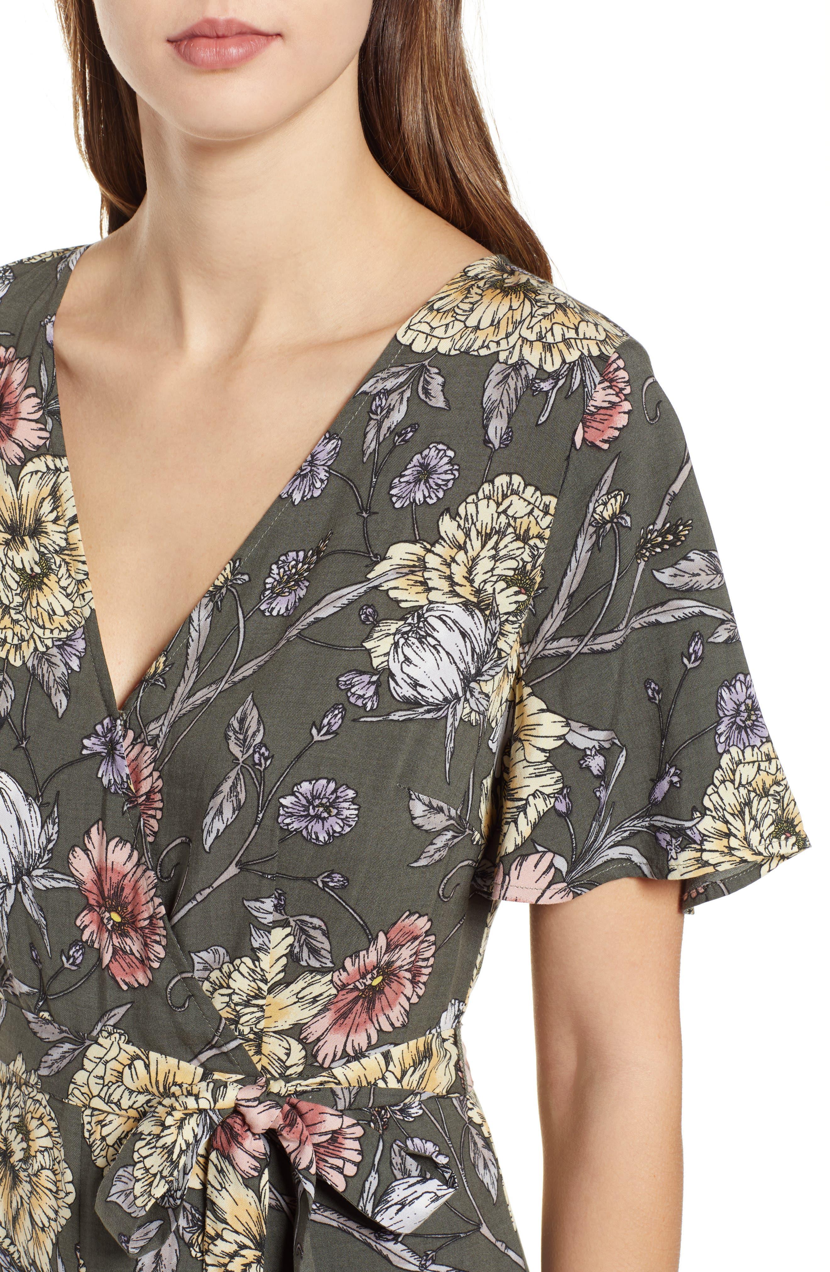 Floral Print Tie Waist Jumpsuit,                             Alternate thumbnail 4, color,                             OLIVE FLORAL