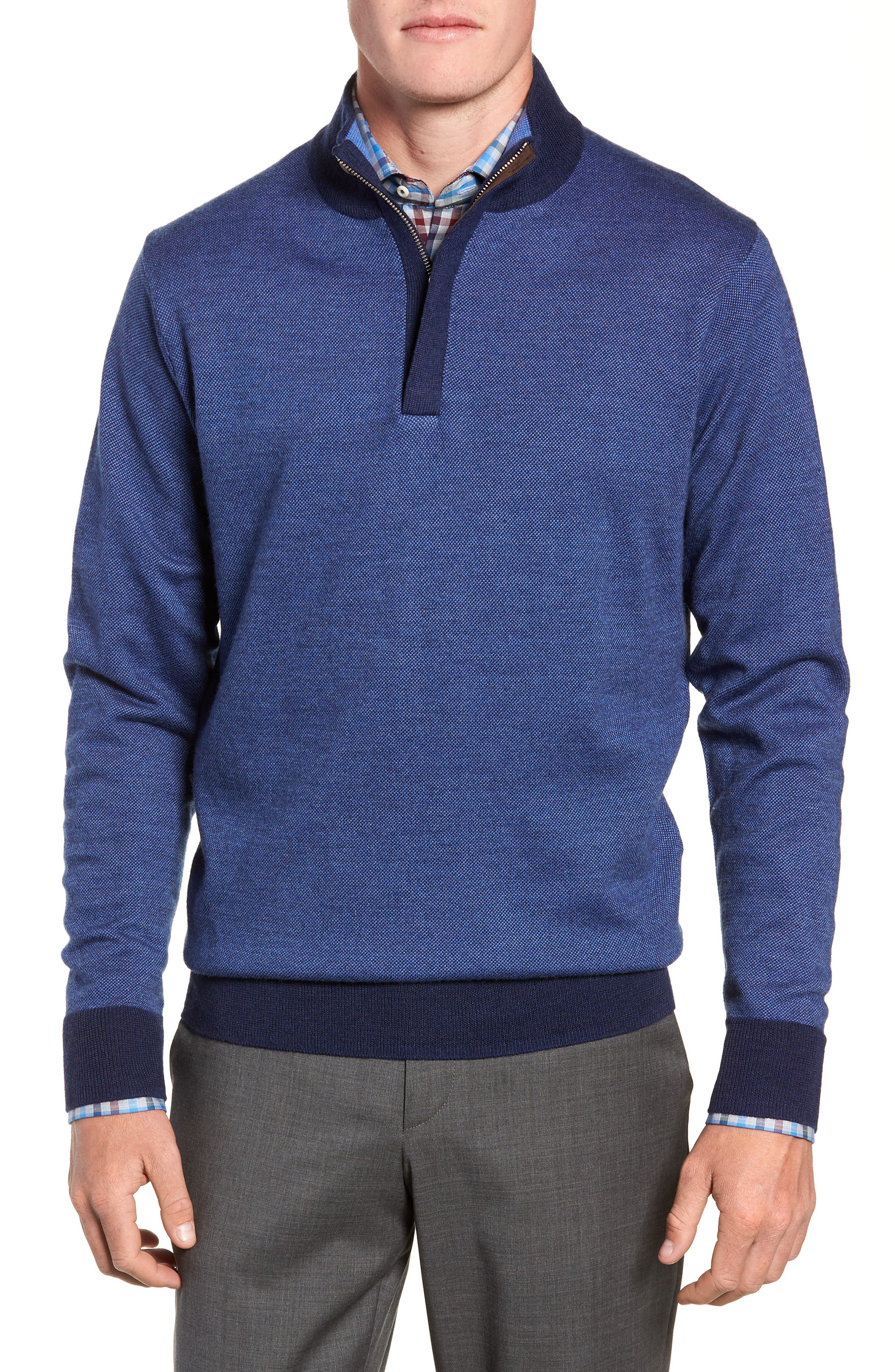 Birdseye Merino Wool Quarter Zip Sweater,                             Main thumbnail 1, color,                             PLAZA BLUE