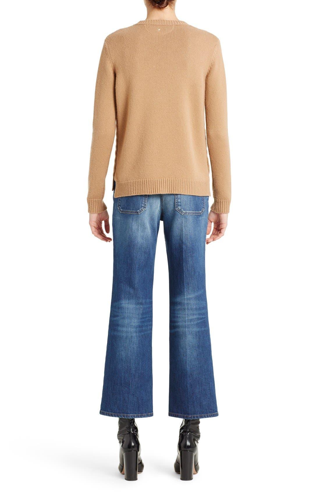 Studded Crewneck Cashmere Sweater,                             Alternate thumbnail 2, color,                             CAMEL