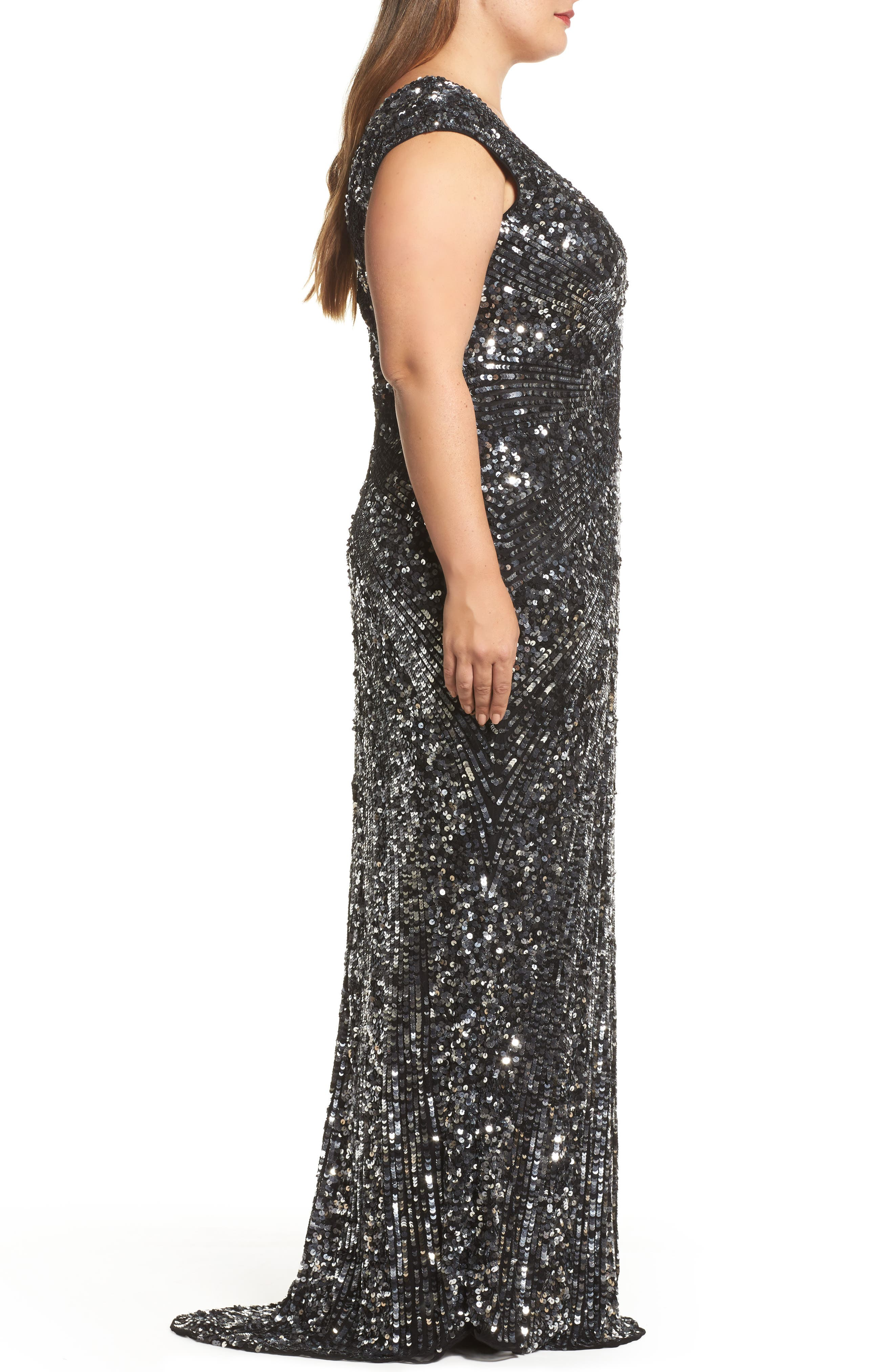 MAC DUGGAL,                             Sequin Plunging V-Neck Gown,                             Alternate thumbnail 3, color,                             001