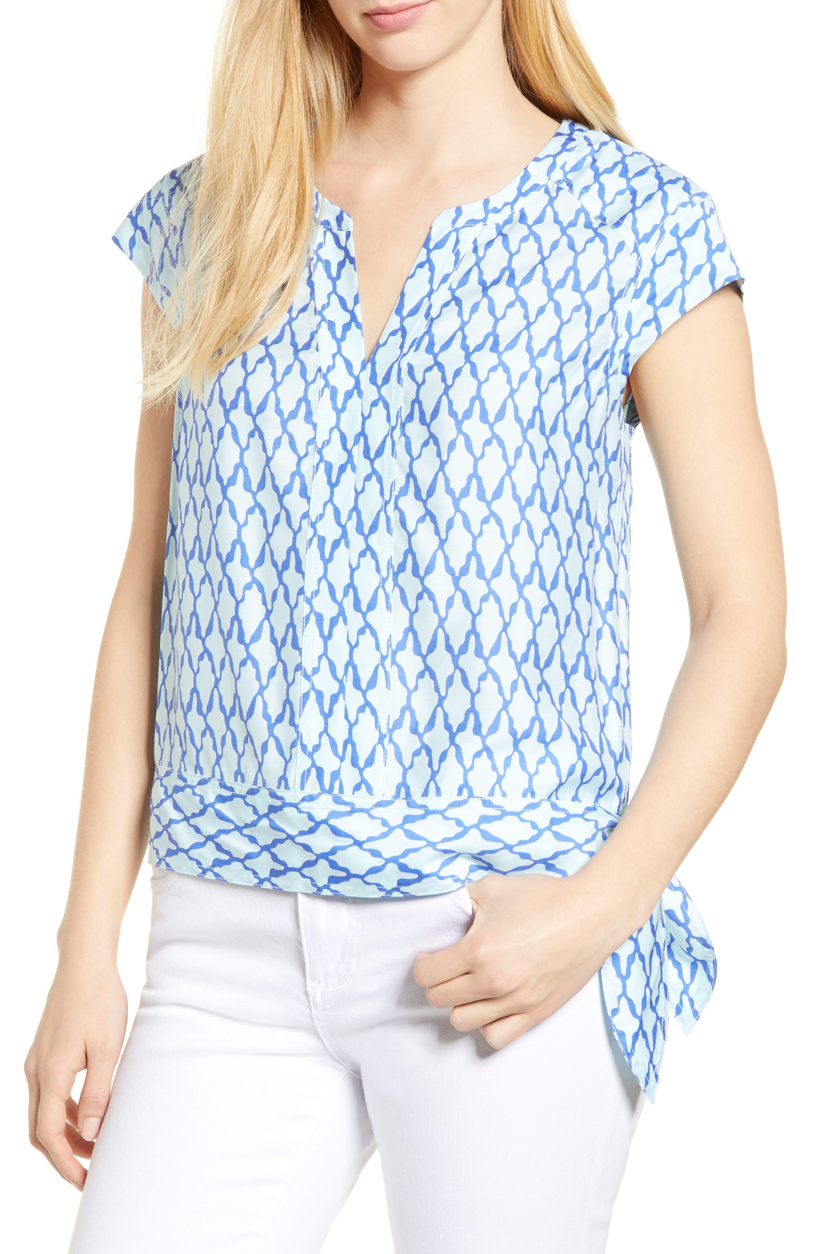Lattice Print Side Tie Top,                         Main,                         color, CRYSTAL BLUE