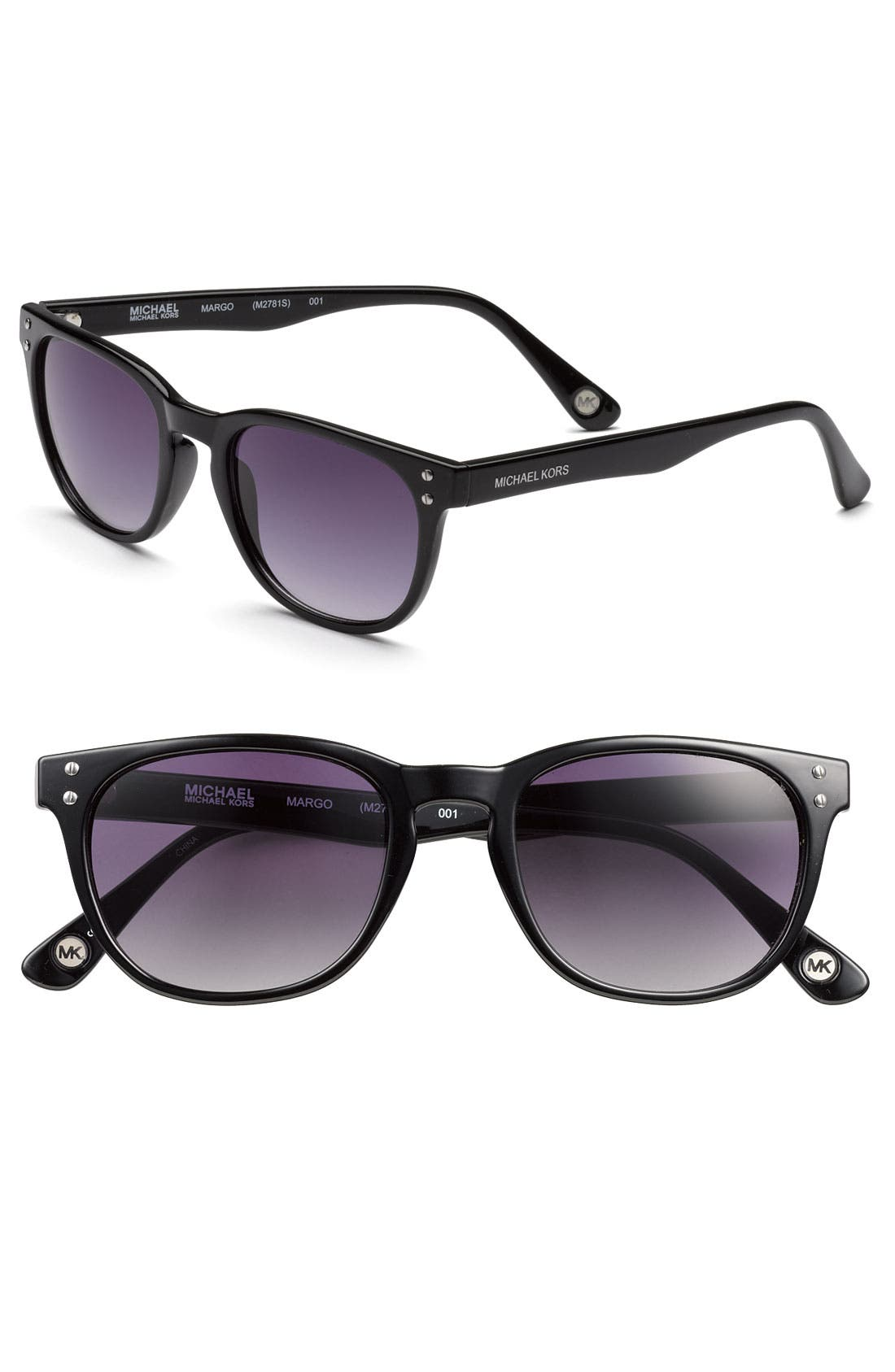 MICHAEL MICHAEL KORS Round Keyhole Sunglasses, Main, color, 001