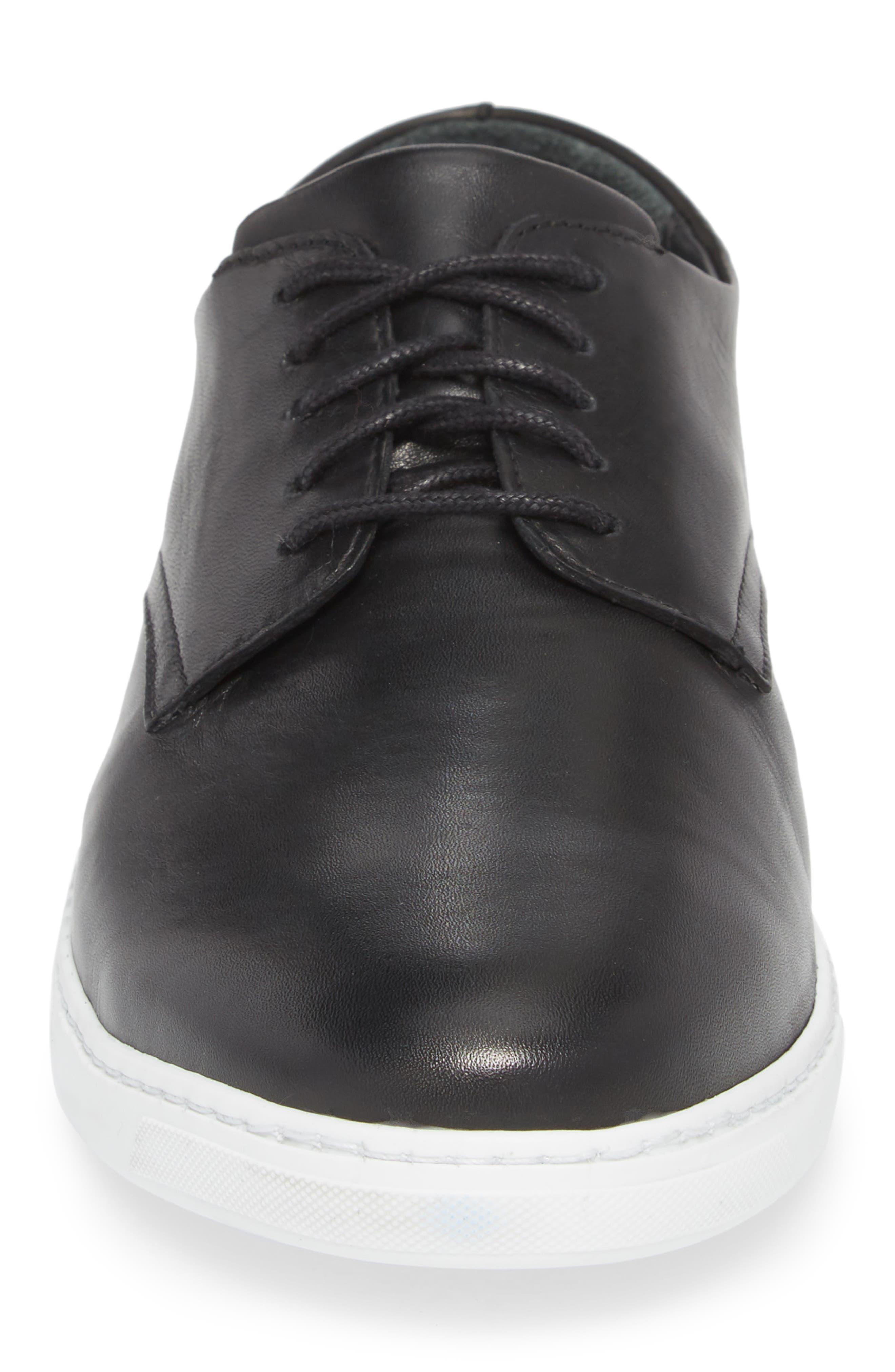 Nok Derby Sneaker,                             Alternate thumbnail 4, color,                             BLACK LEATHER