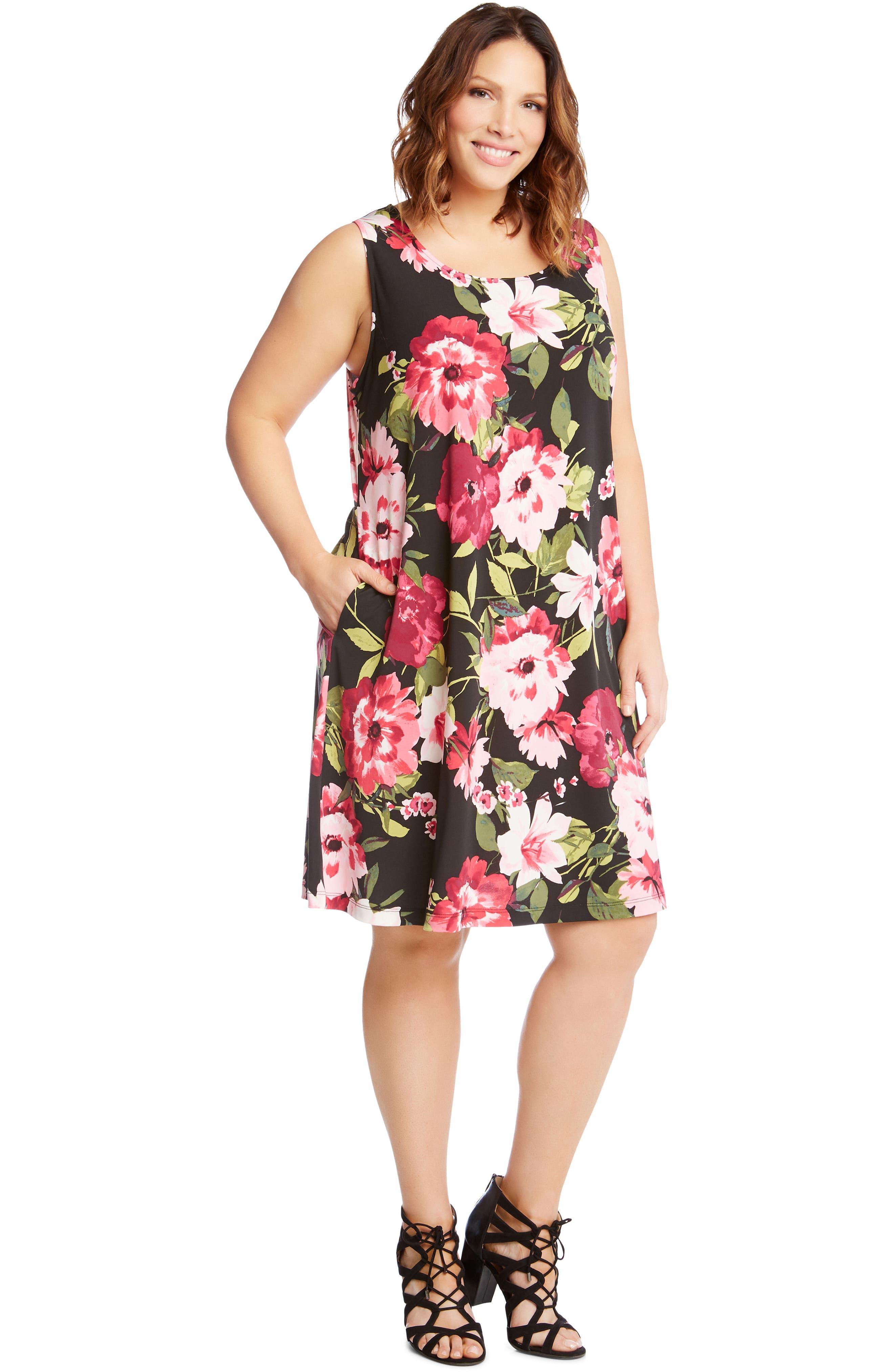 Chloe Floral Trapeze Dress,                             Alternate thumbnail 4, color,                             659