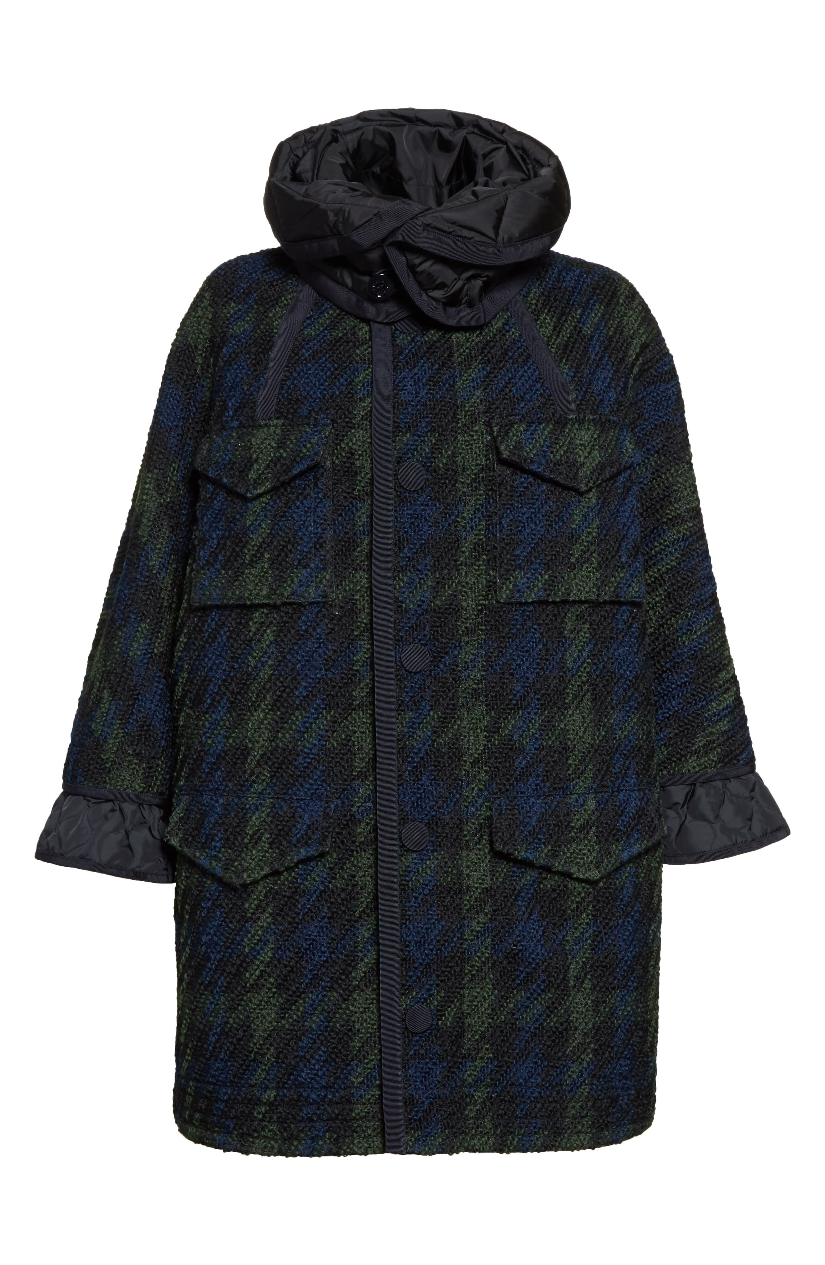 Euphrasie Wool Blend Houndstooth Coat,                             Alternate thumbnail 2, color,