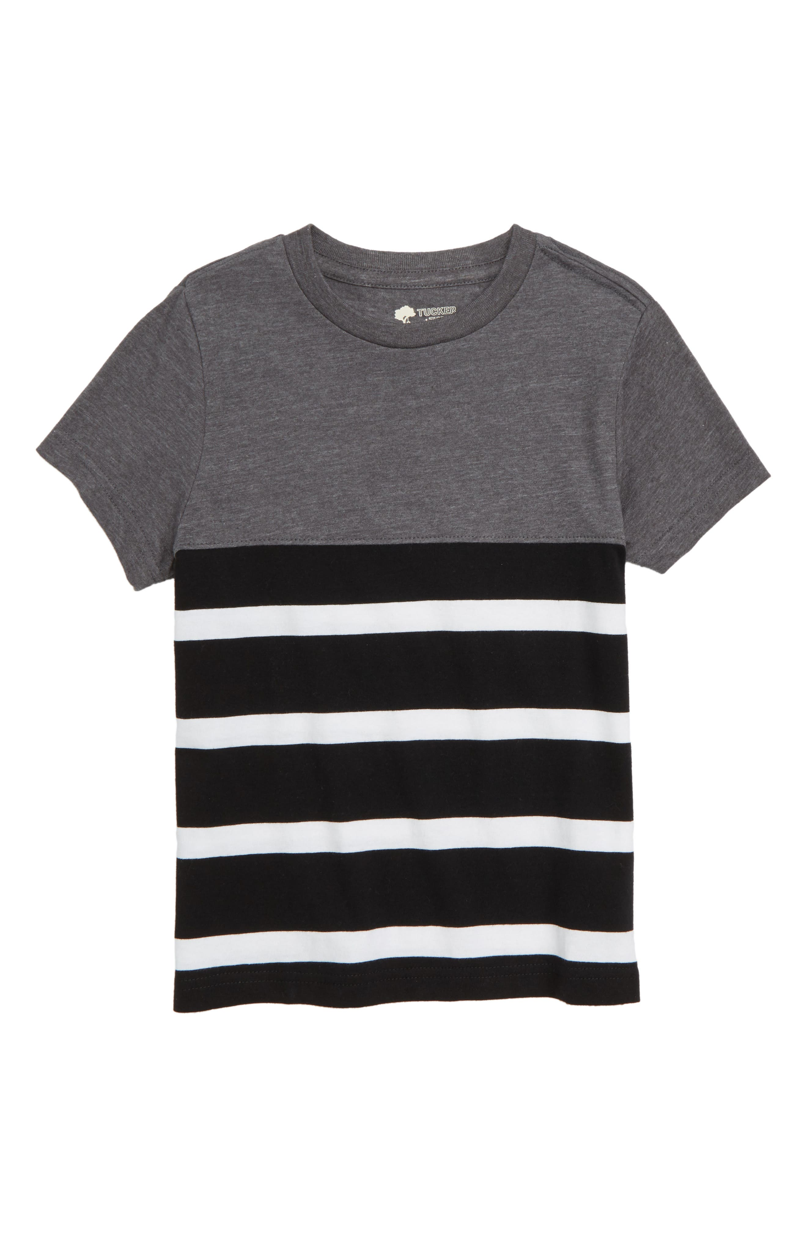 Solid & Stripe T-Shirt,                         Main,                         color, BLACK- WHITE