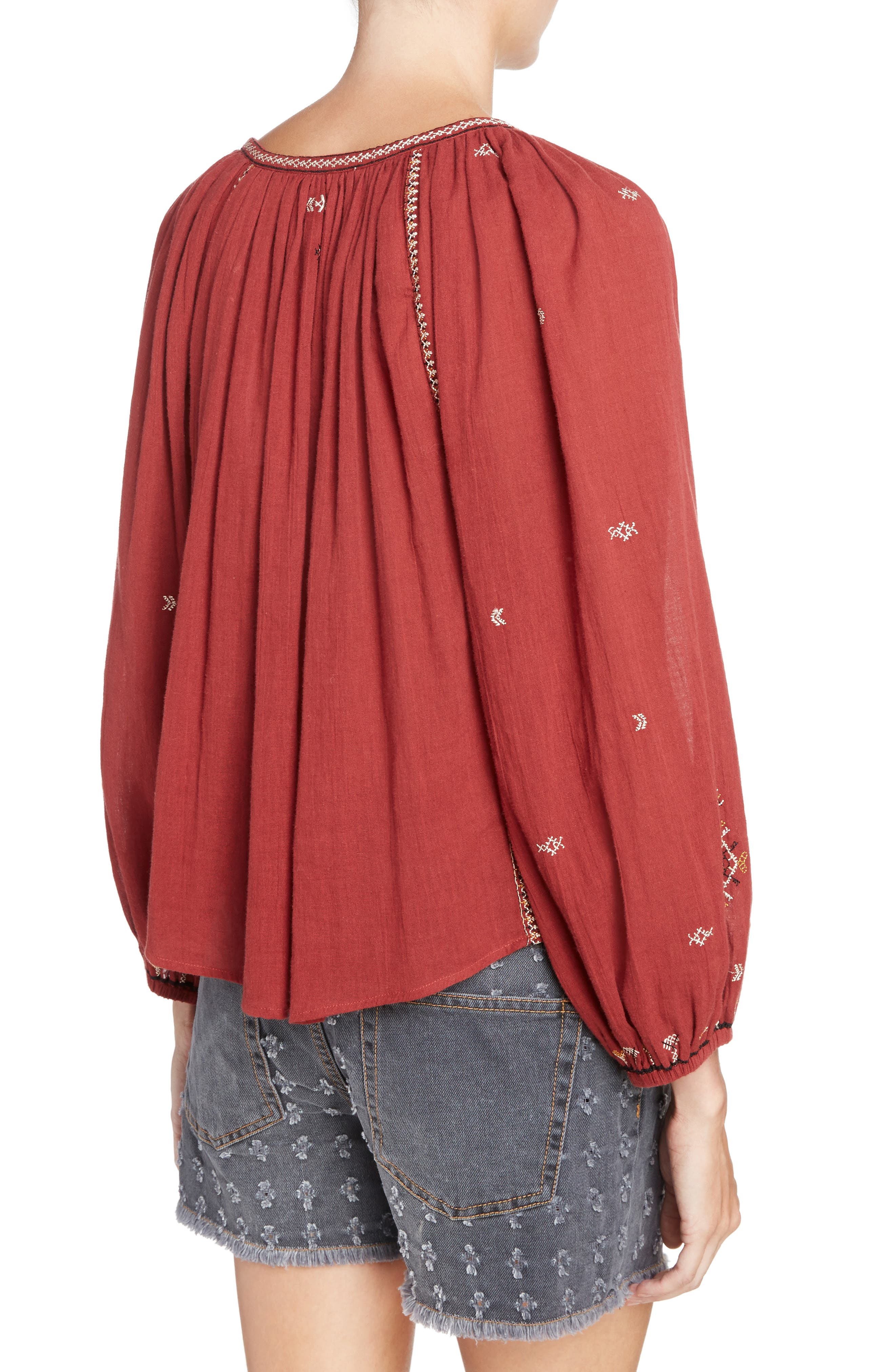 Isabel Marant Étoile Melina Embroidered Cotton Top,                             Alternate thumbnail 2, color,                             600