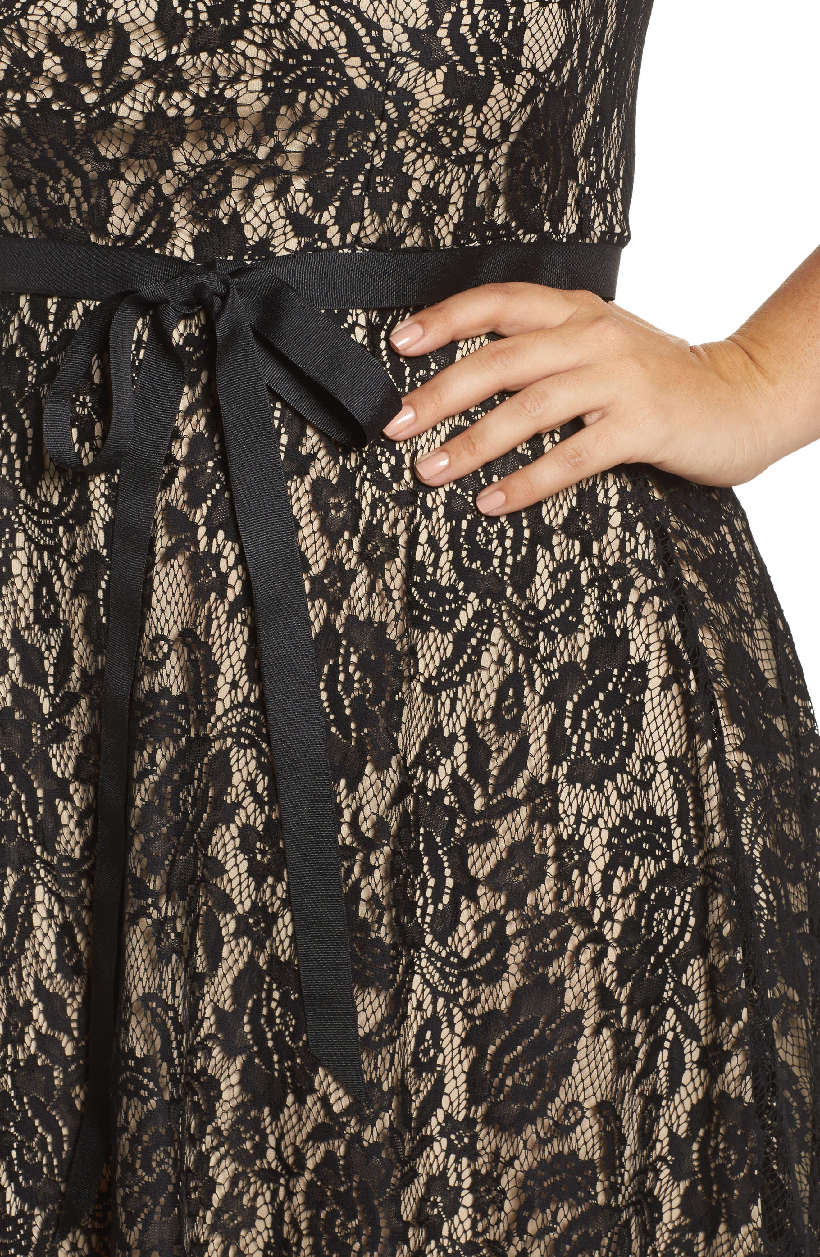 Tie Waist Lace Dress,                             Alternate thumbnail 4, color,
