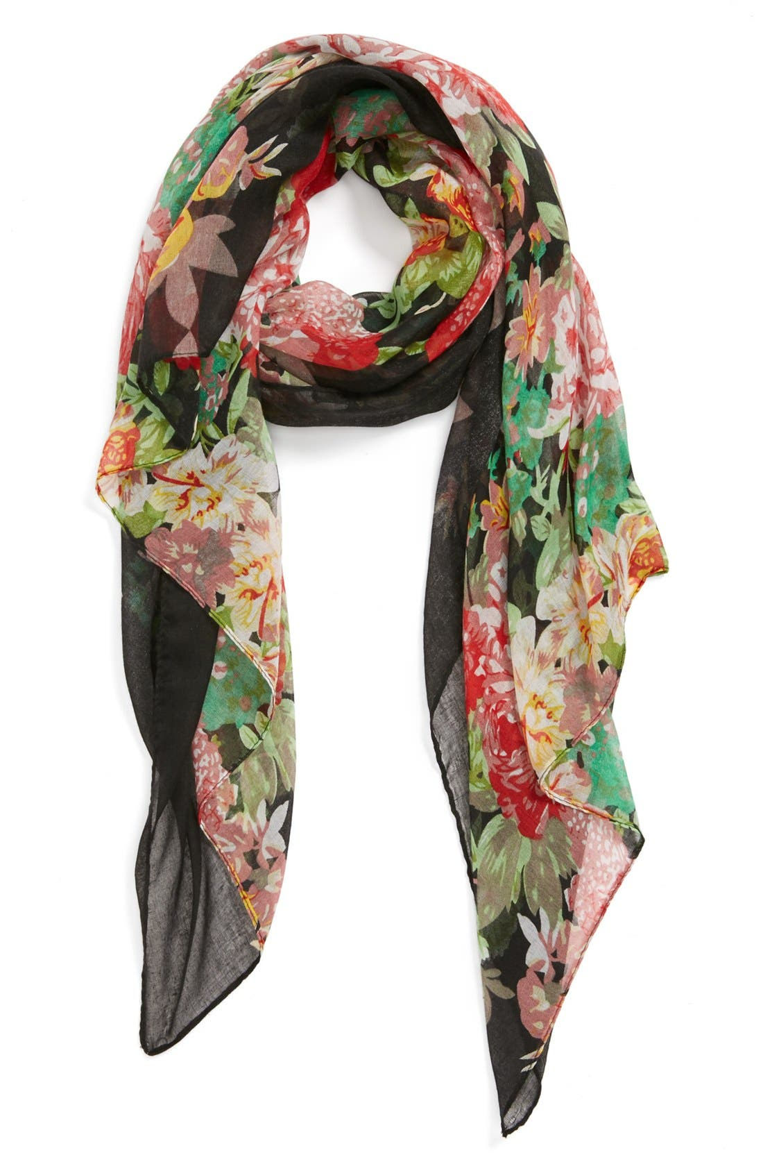 Floral Print Woven Scarf,                         Main,                         color, 001