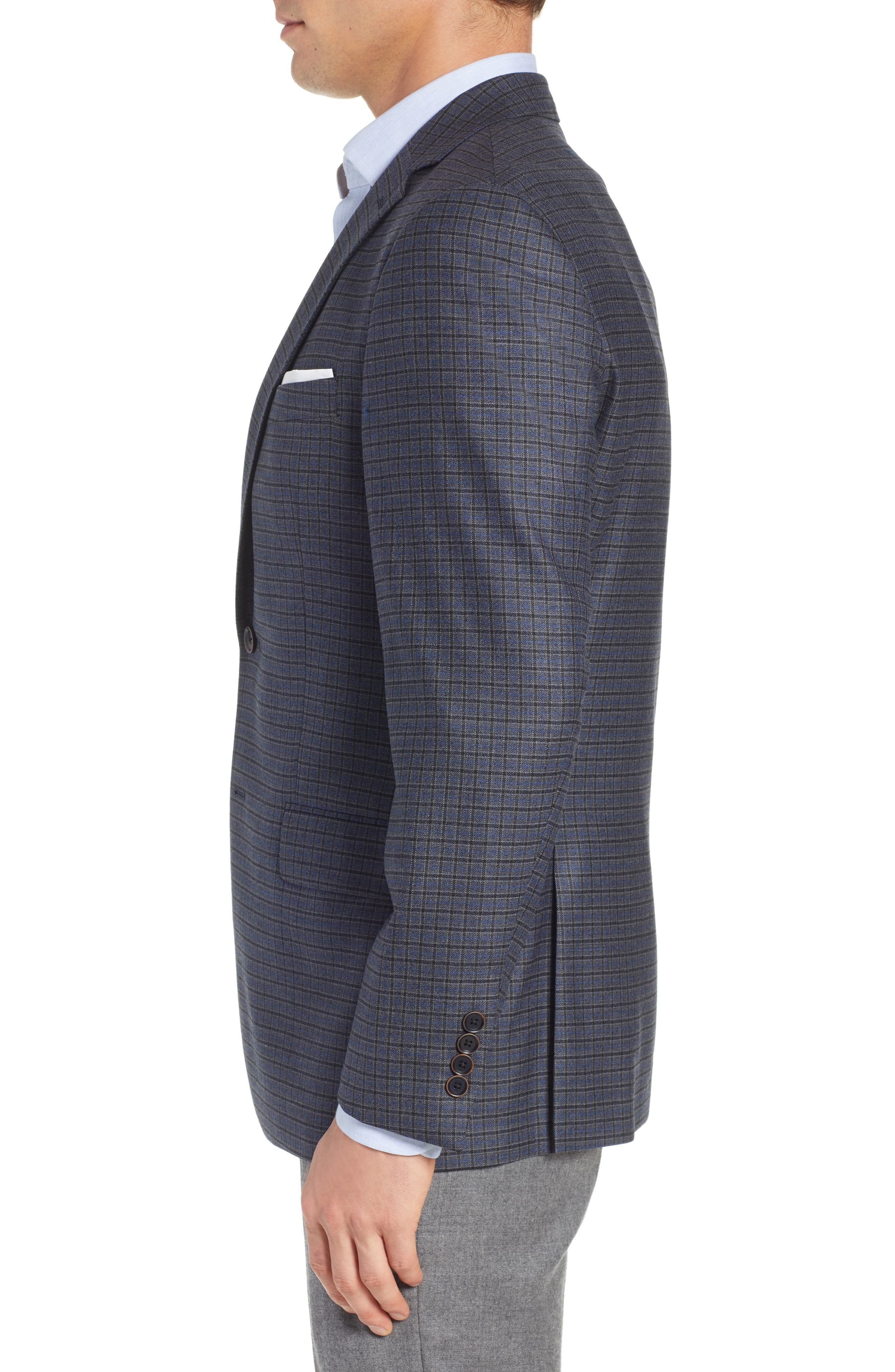 HART SCHAFFNER MARX,                             Classic Fit Stretch Check Wool Sport Coat,                             Alternate thumbnail 3, color,                             420