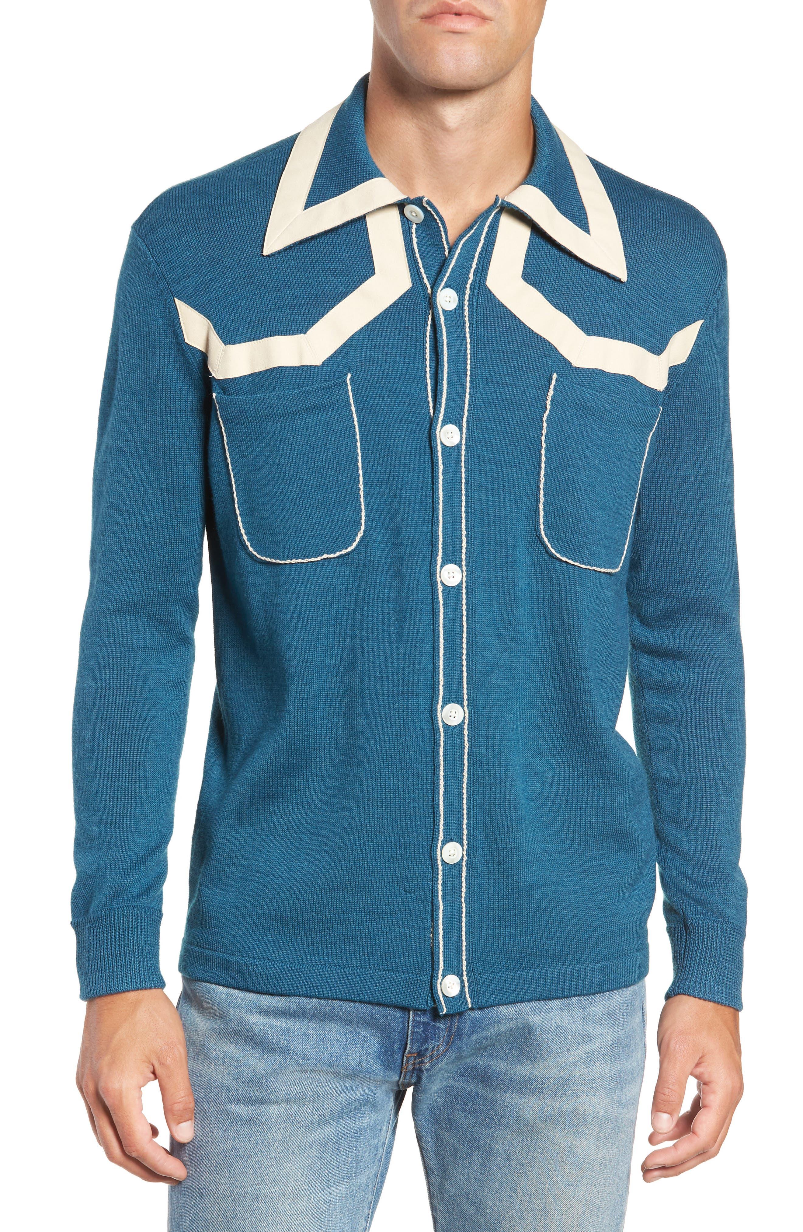 1940s Style Mens Shirts, Sweaters, Vests Mens Levis Vintage Clothing Isaac Knit Shirt $77.98 AT vintagedancer.com