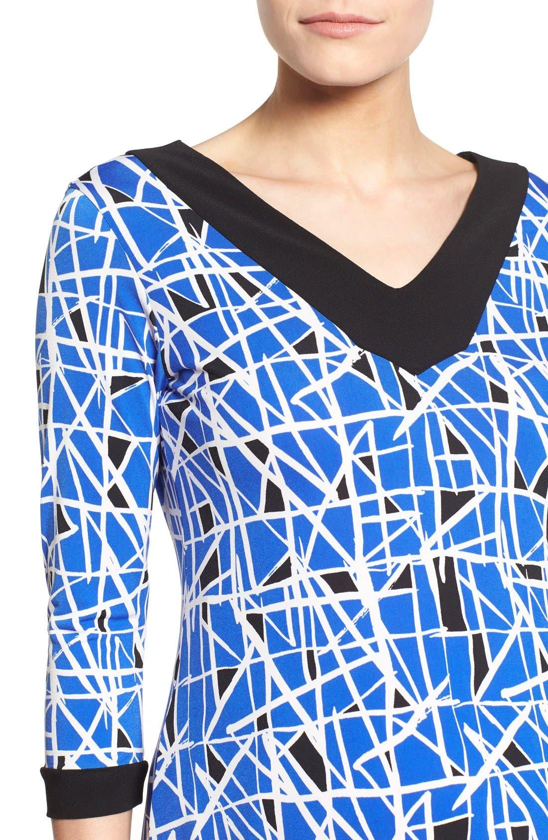 'Olivia' Maternity Dress,                             Alternate thumbnail 4, color,                             COBALT GLASS