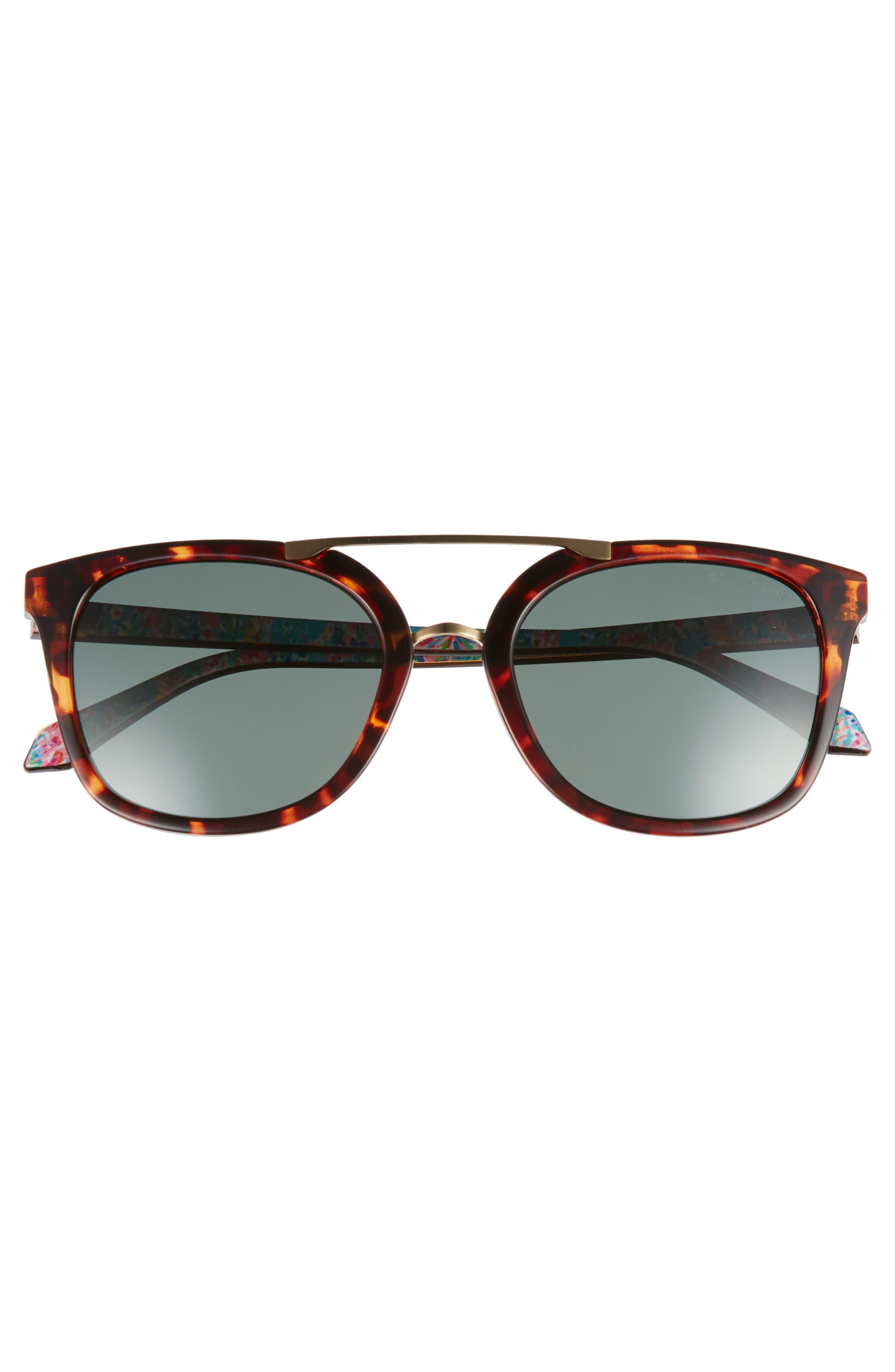 Lilly Pulitzer Emilia 53mm Polarized Sunglasses,                             Alternate thumbnail 3, color,                             DARK TORTOISE/ GREEN