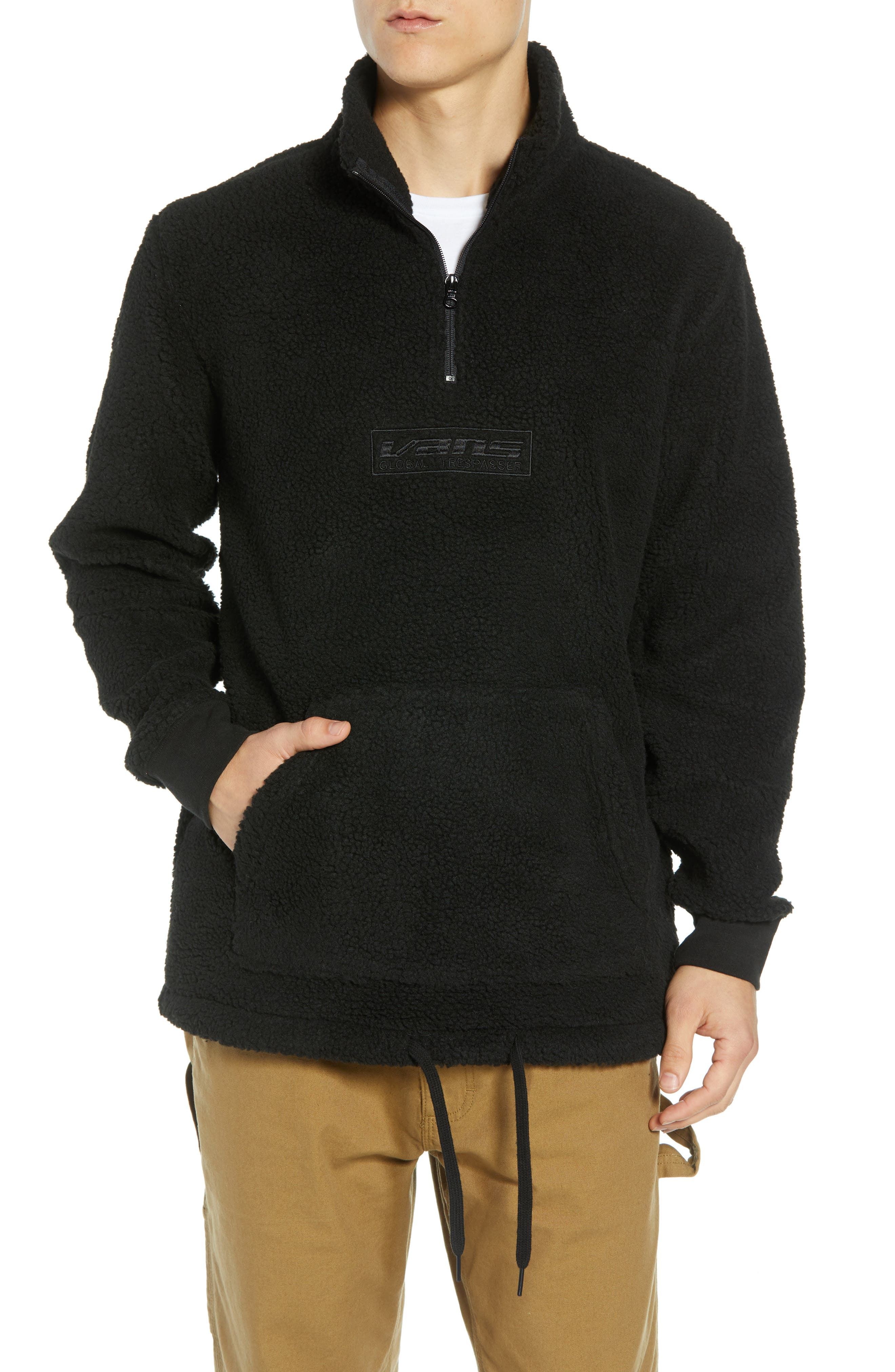 Global Trespassers Fleece Pullover,                         Main,                         color, BLACK