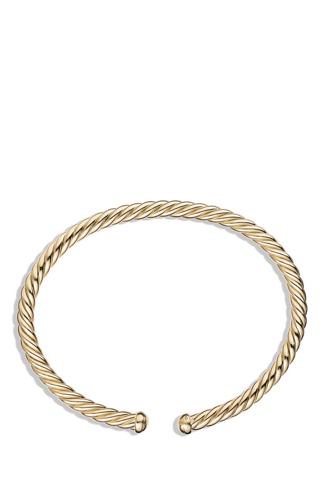 Cable Spira Bracelet in 18K Gold, 4mm,                             Alternate thumbnail 3, color,                             GOLD
