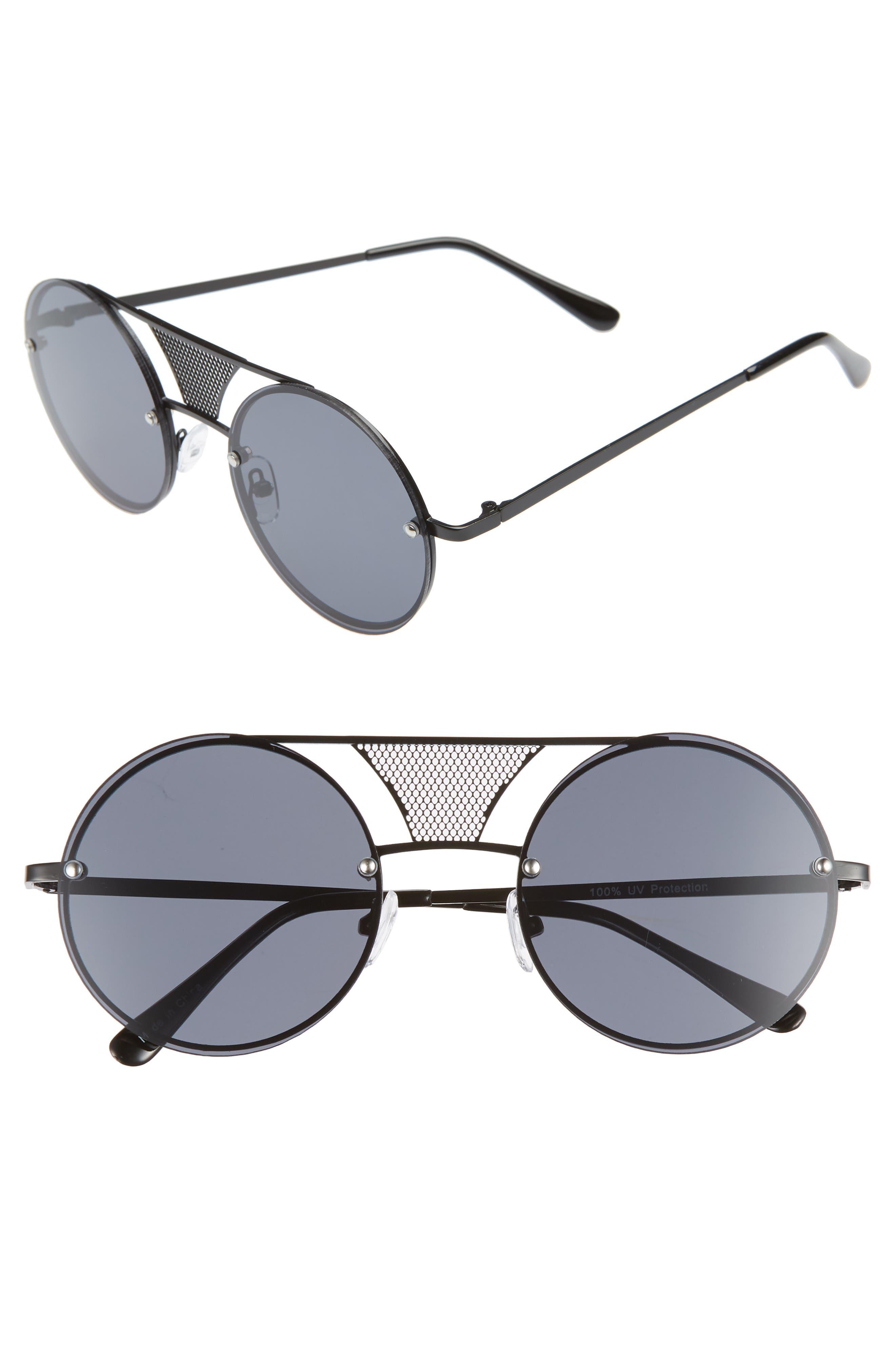 52mm Mesh Browbar Round Aviator Sunglasses,                         Main,                         color, BLACK