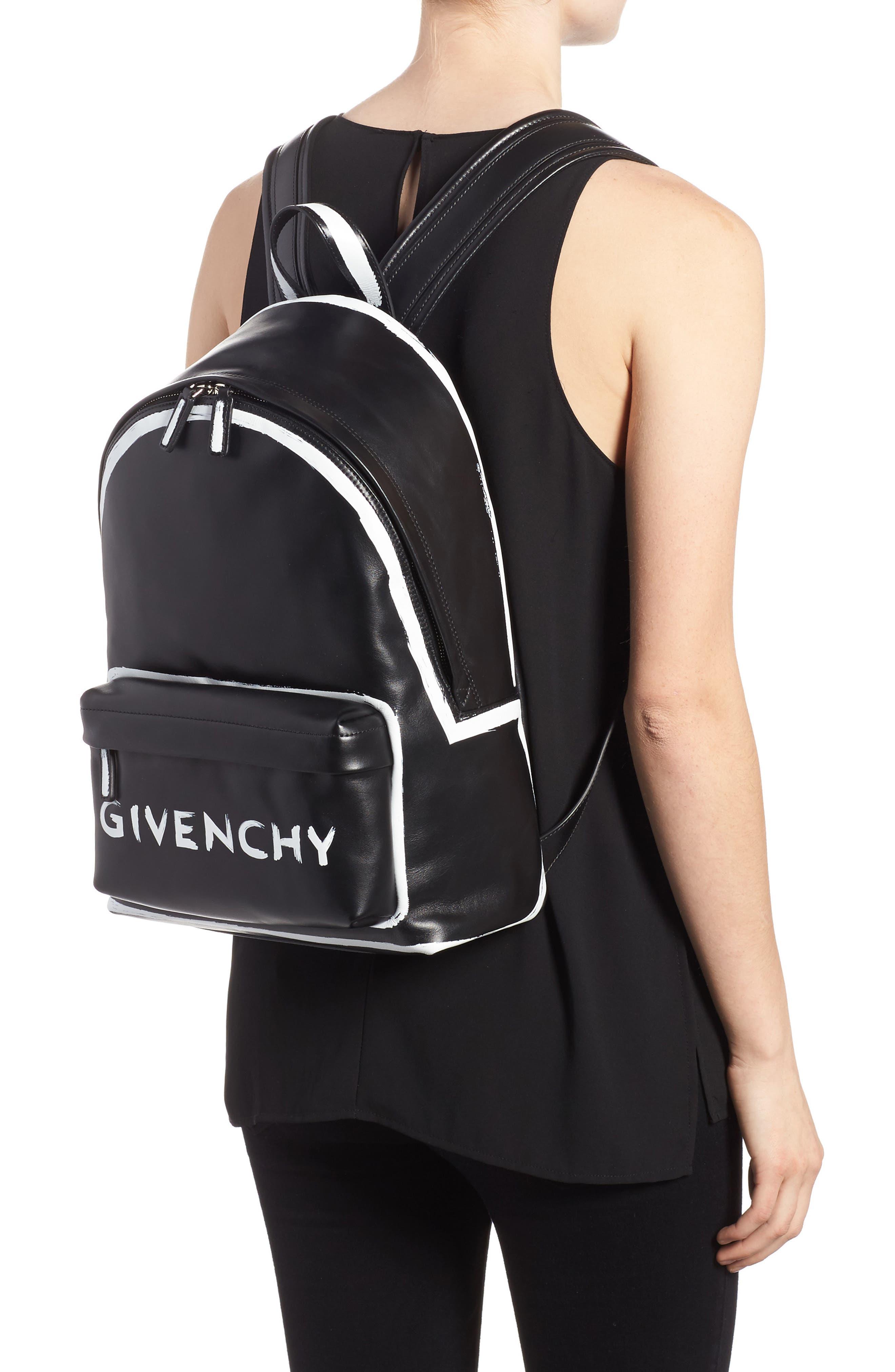 Graffiti Calfskin Leather Backpack,                             Alternate thumbnail 2, color,                             BLACK/ WHITE