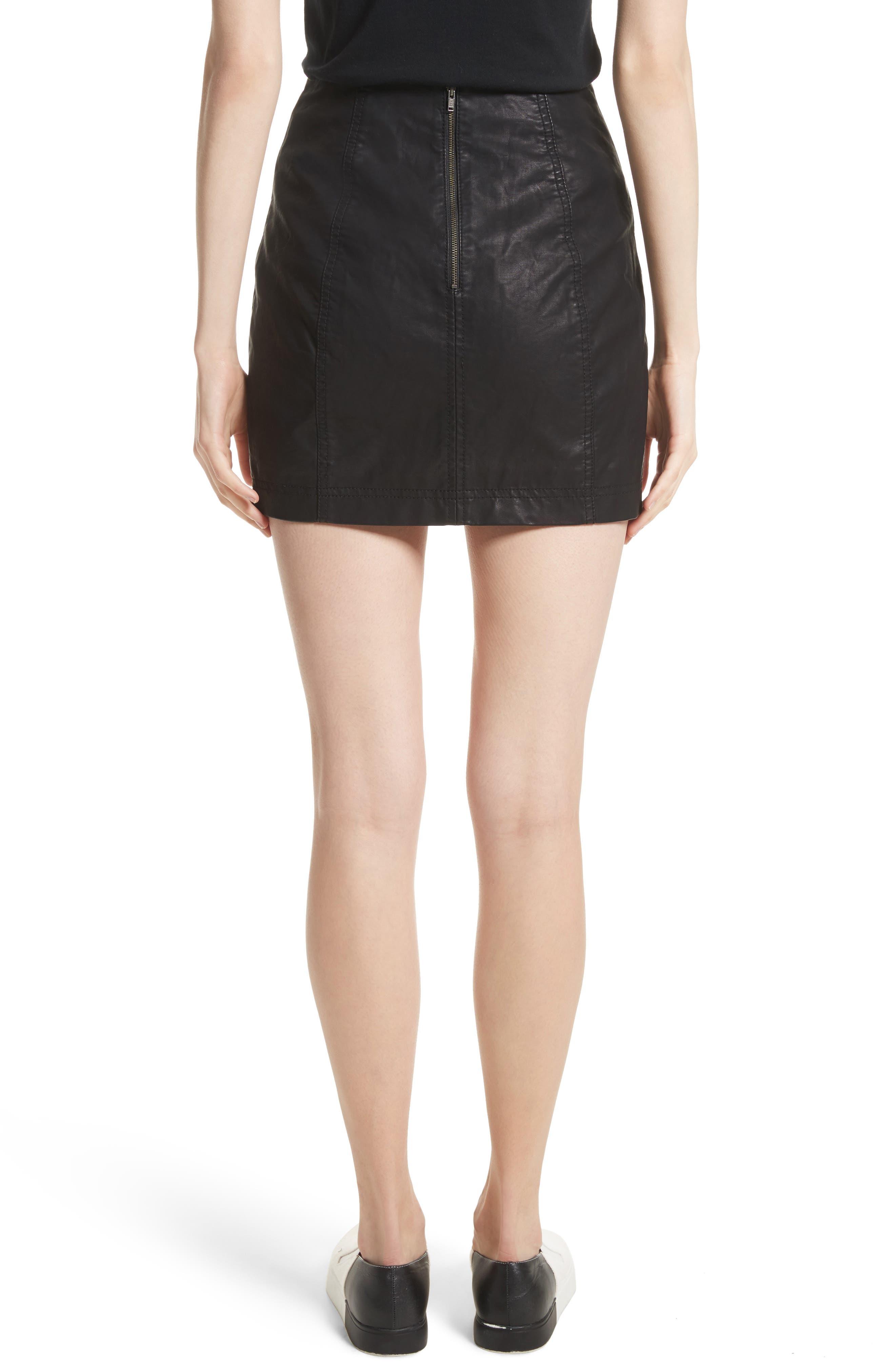 Modern Femme Faux Leather Miniskirt,                             Alternate thumbnail 2, color,                             BLACK