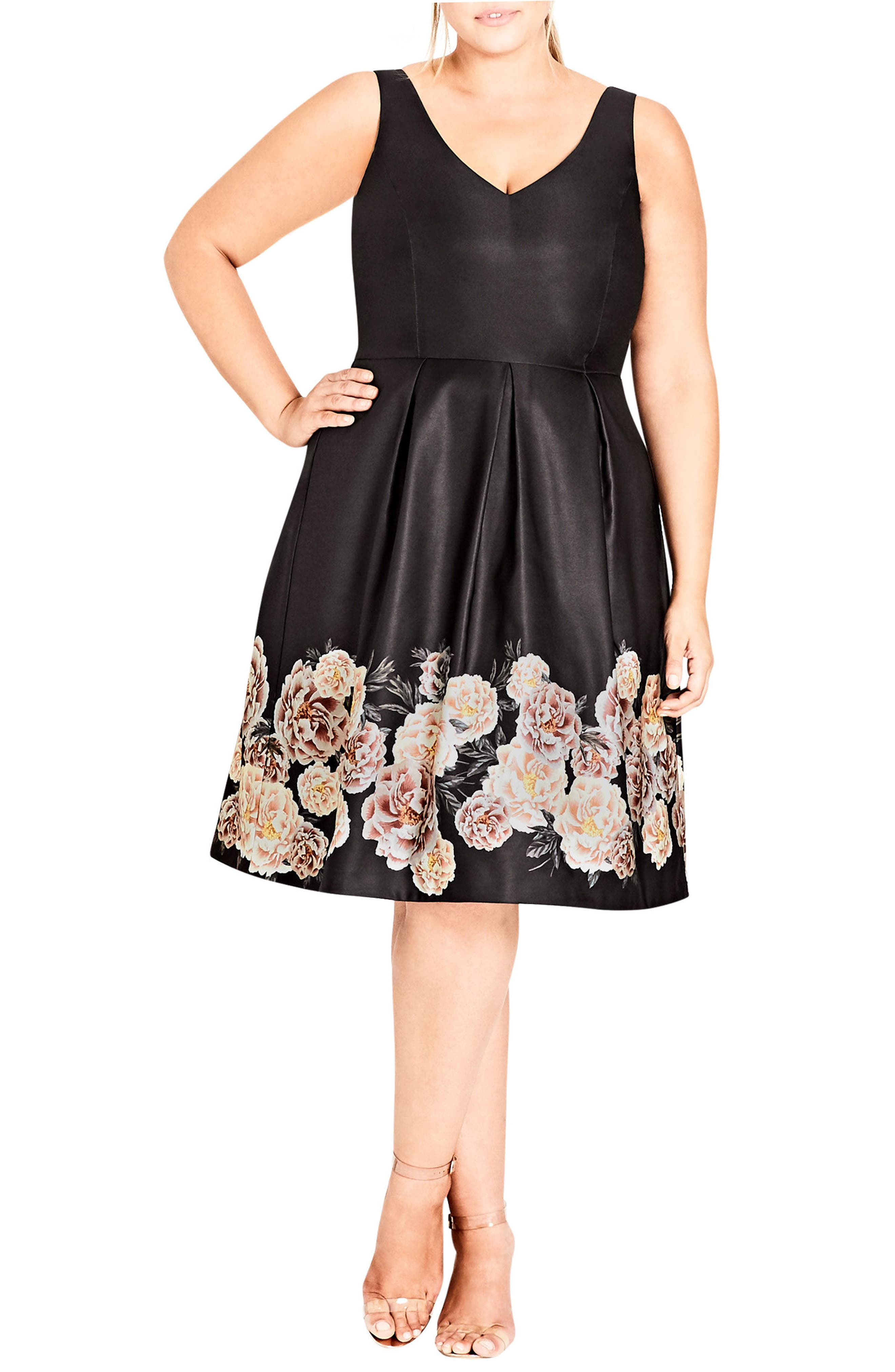 Magical Floral Satin Fit & Flare Dress,                         Main,                         color, BORDER PRINT