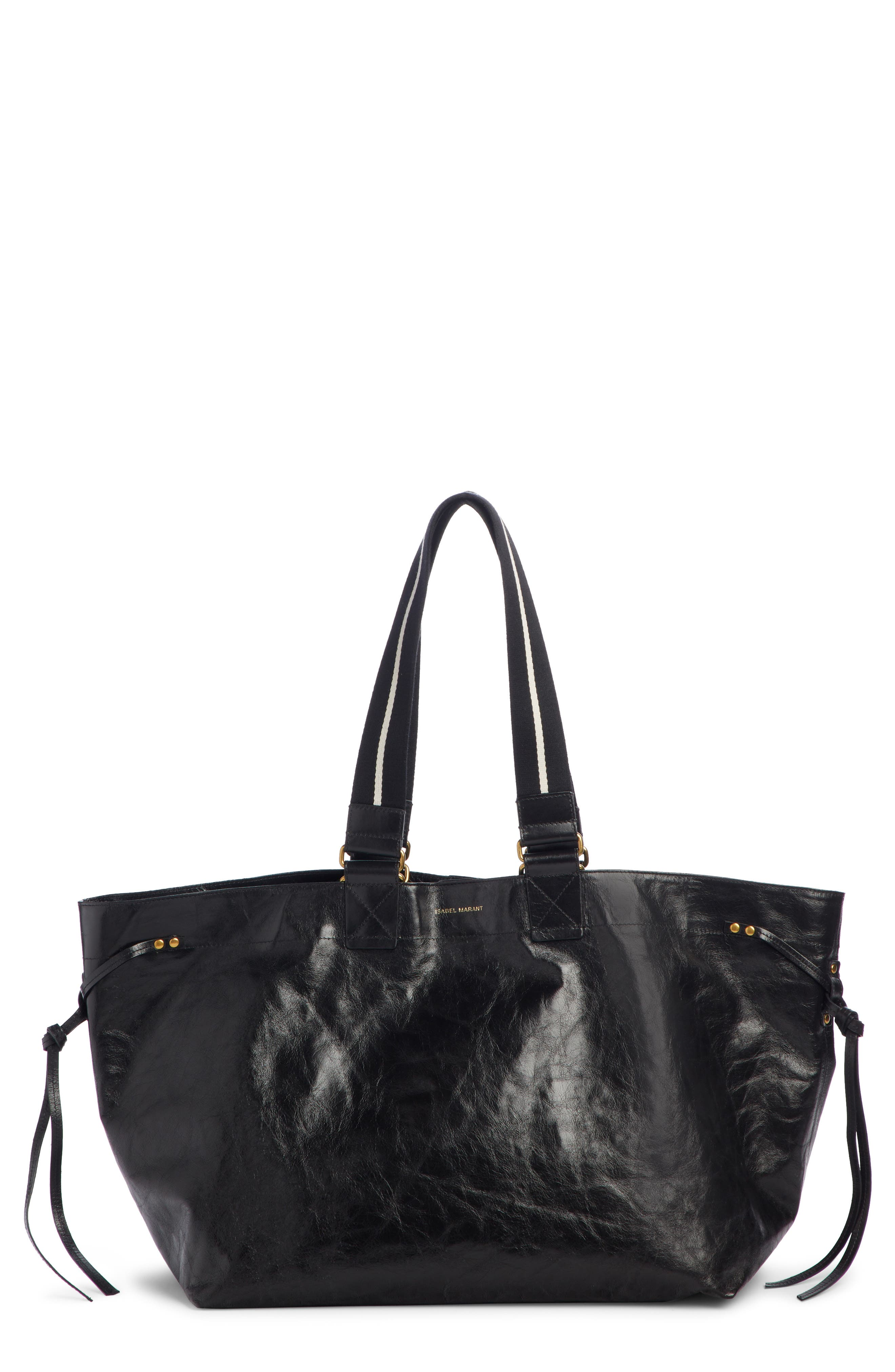Wardy New Leather Shopper,                         Main,                         color, BLACK