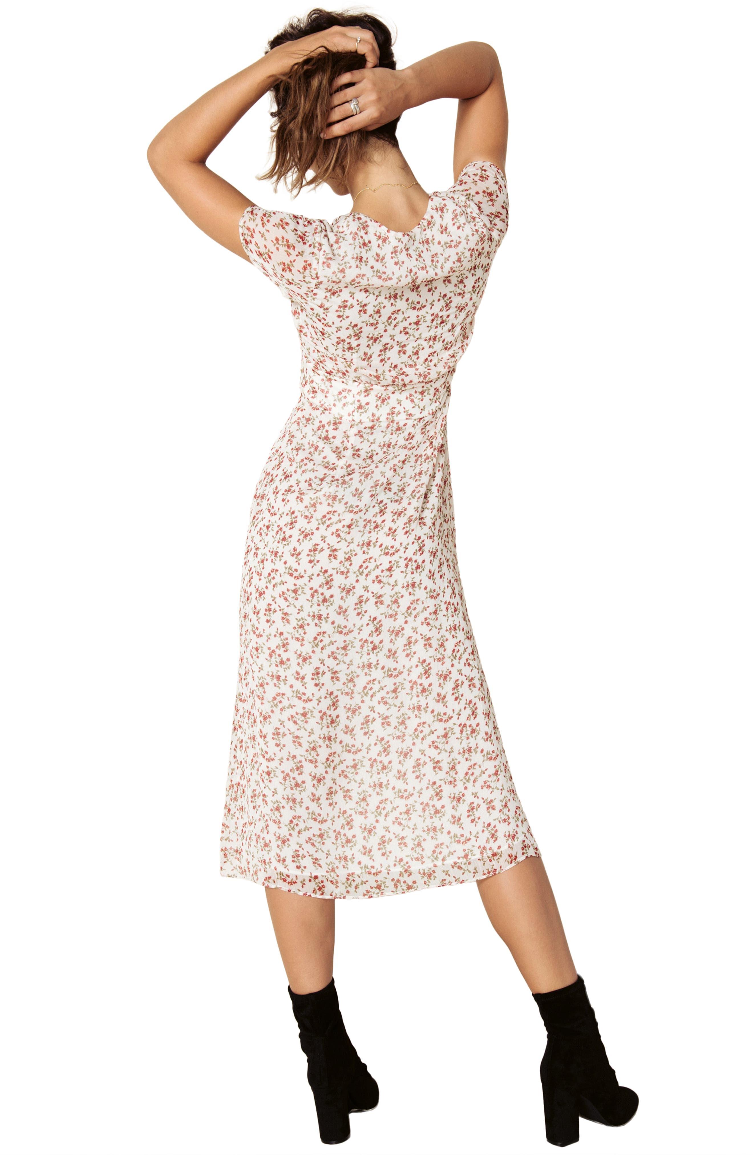 Faretta Midi Dress,                             Alternate thumbnail 8, color,                             RED ROMANCE FLORAL