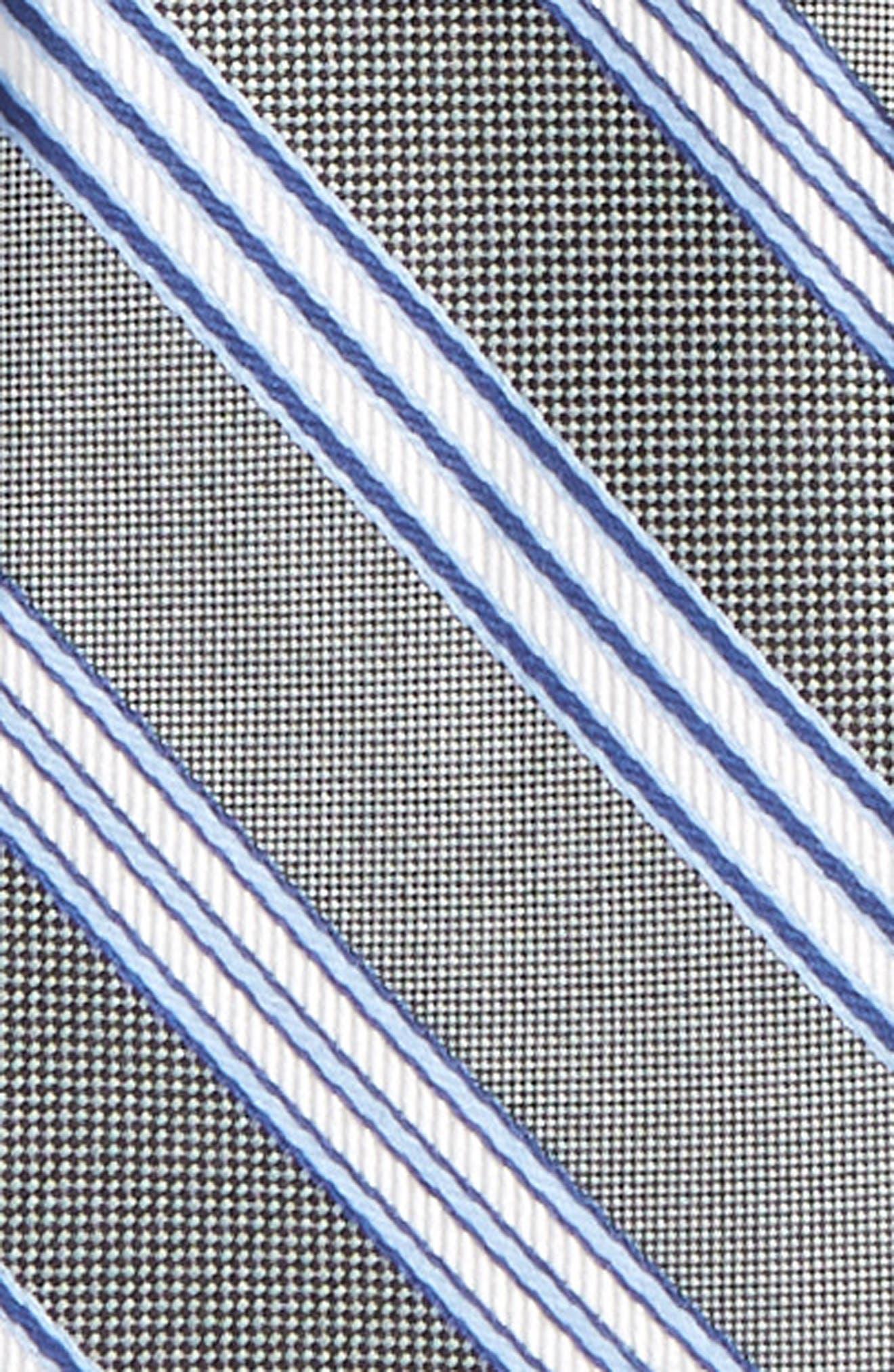 Stripe Silk Zipper Tie,                             Alternate thumbnail 2, color,                             001