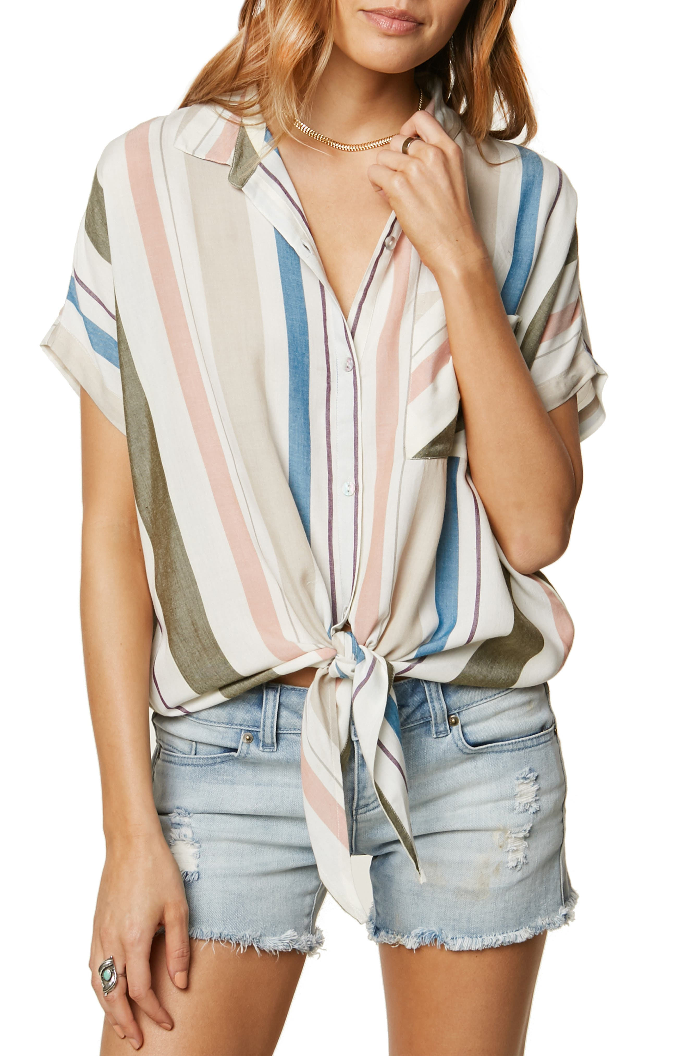 Demi Knot Hem Top,                             Main thumbnail 1, color,                             MULTI COLORED